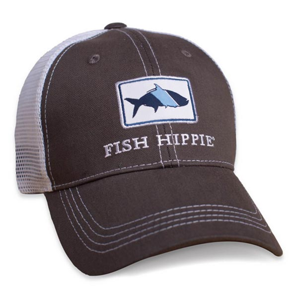 Fish hippie mesh back trucker hat graphite ag outfitters nc for Fish hippie hats