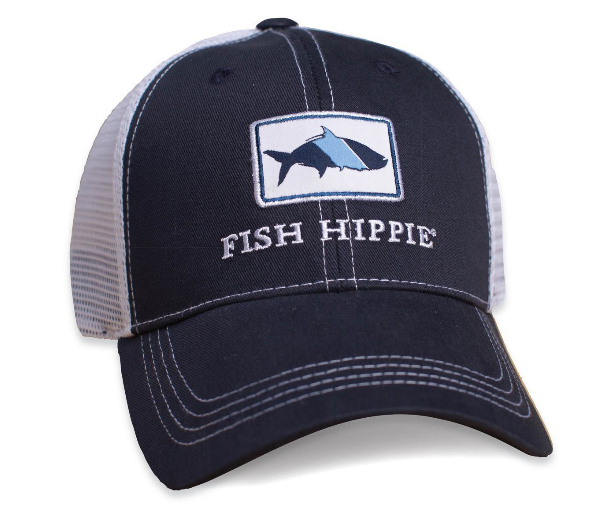 Fish hippie mesh back trucker hat navy ag outfitters nc for Mesh fishing hats