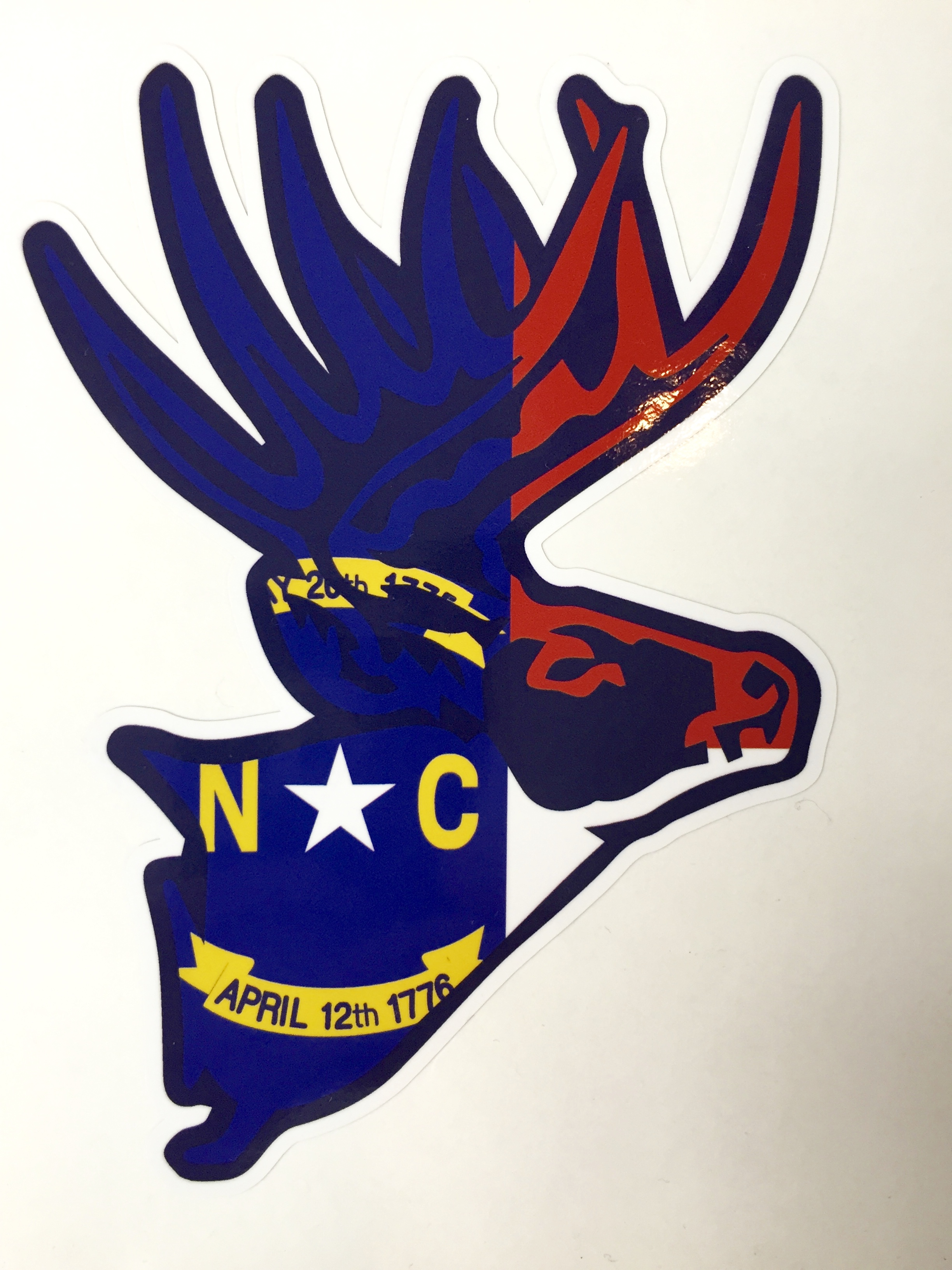 North Carolina Whitetail Deer Flag Decal Sticker Small
