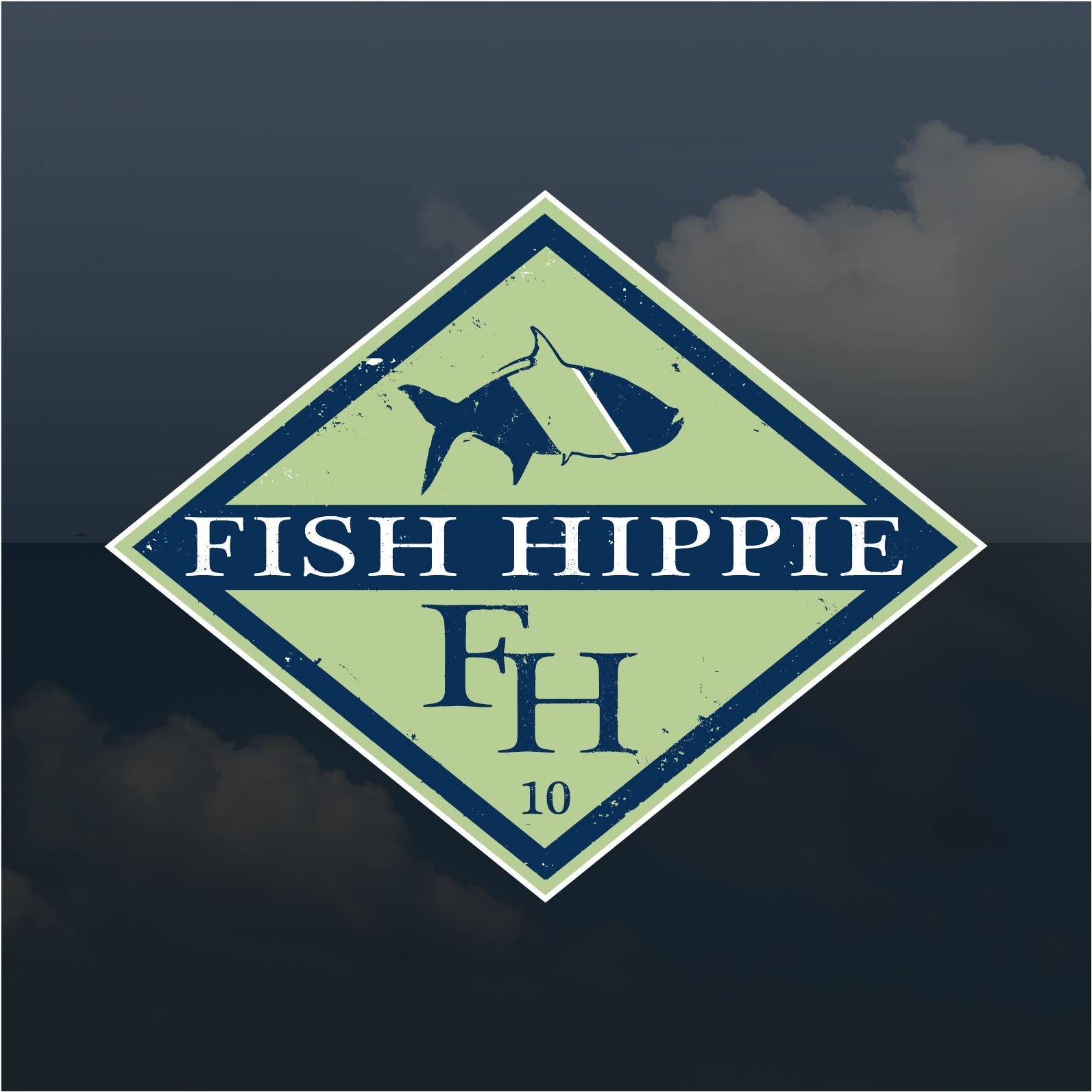 fish hippie sticker diamond window decal ag outfitters nc