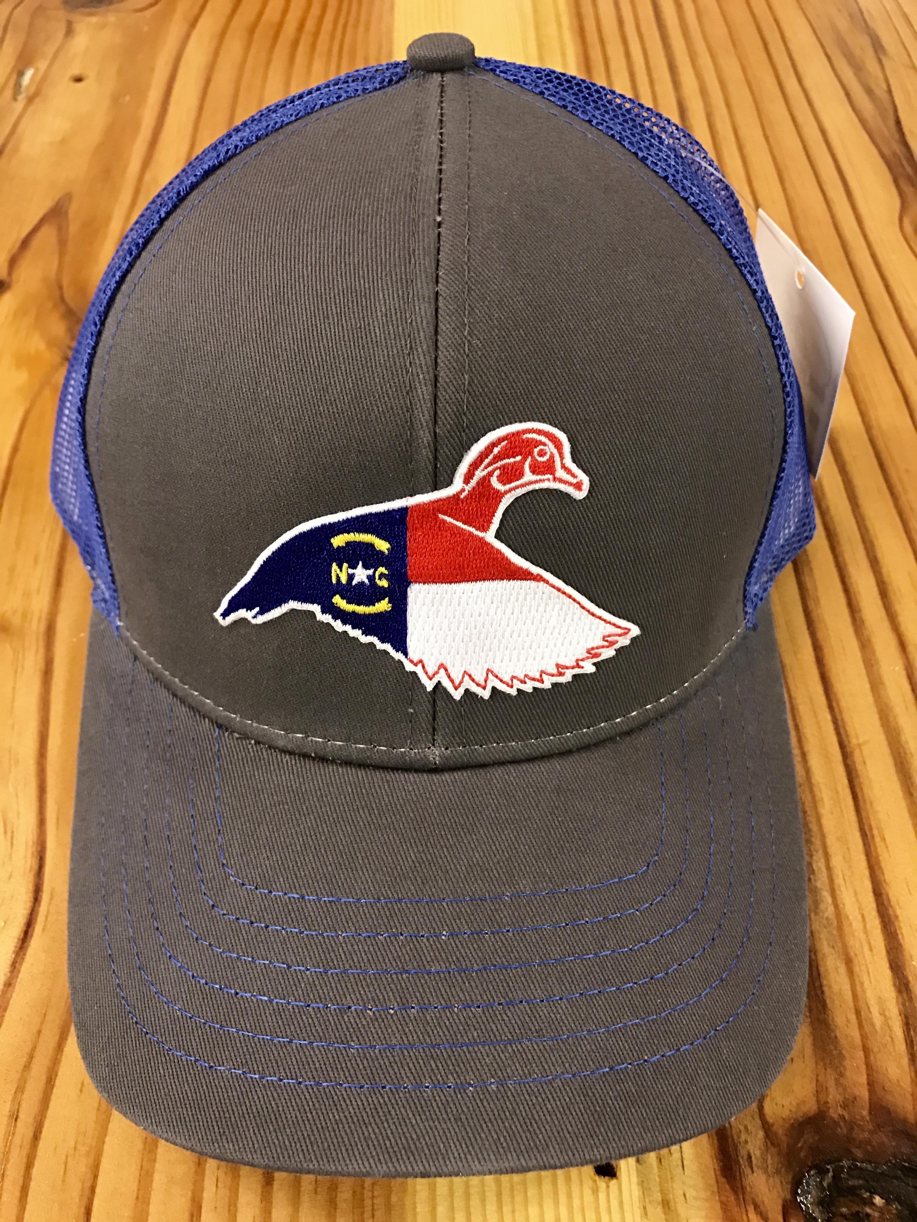 6ffe607ed Dixie Fowl North Carolina Wood Duck Trucker Hat Charcoal/Royal