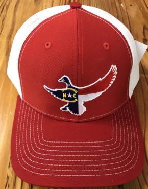 f16ee7c2d40e1 Dixie Fowl North Carolina Mallard Duck Trucker Hat Red White