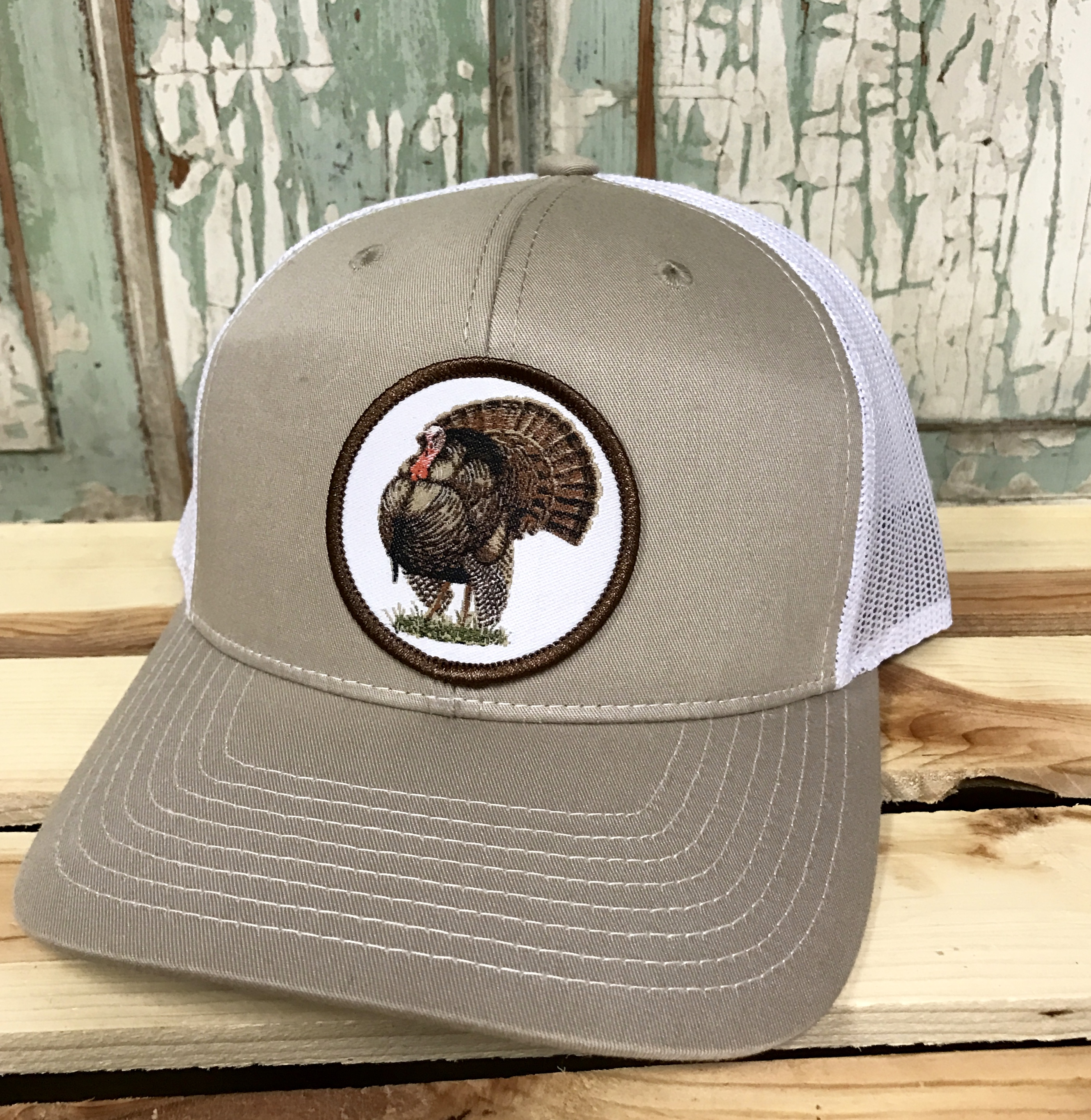 4f794eabfdbd9 AG Outfitters Turkey Patch Trucker Hat Tan White - AG Outfitters NC