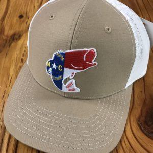 a28461b0 ... Dixie Fowl North Carolina Largemouth Bass Trucker Hat Tan/White $ ...