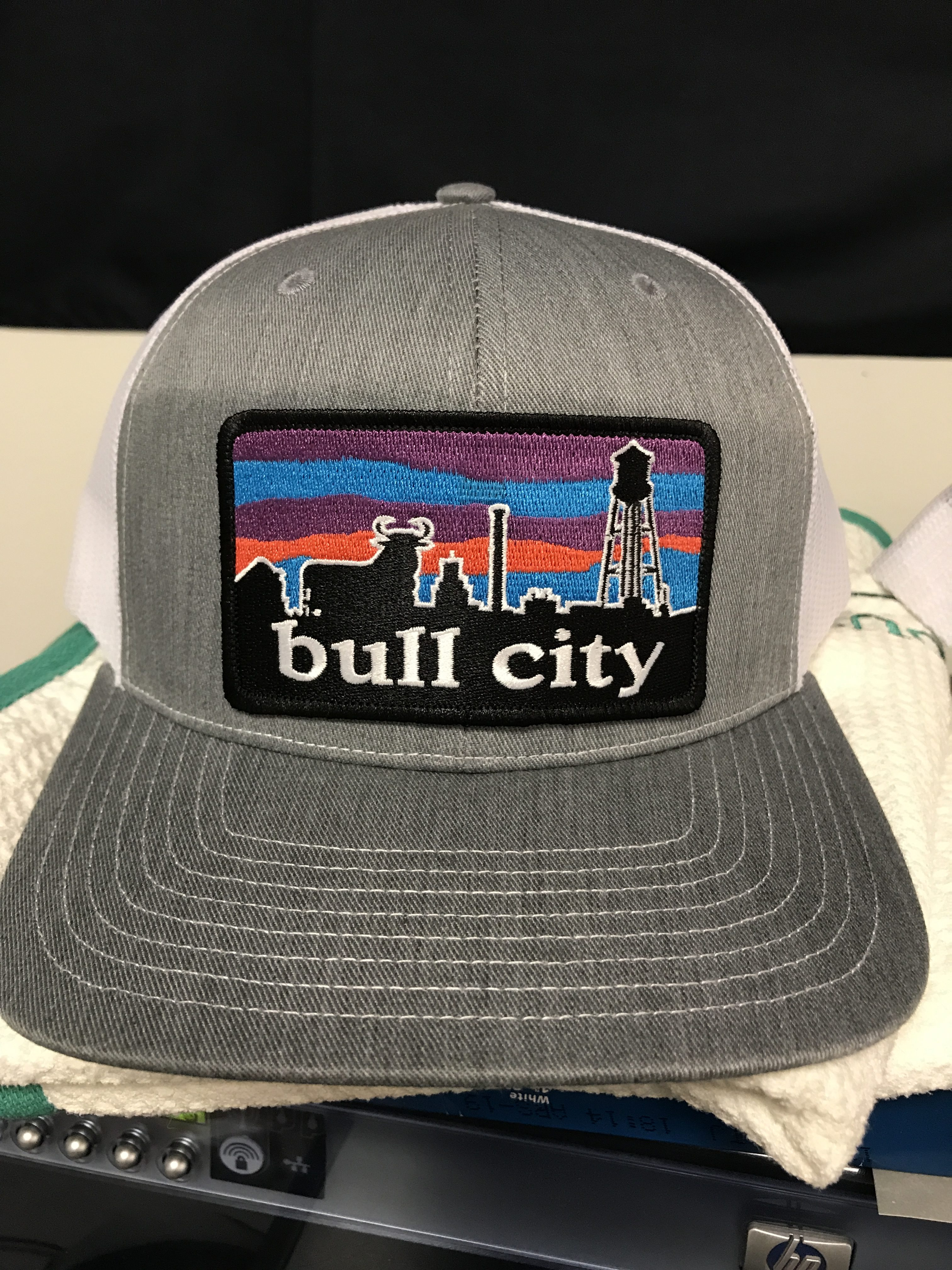 Ag Outfitters Bull City Skyline Durham Nc Patch Trucker Hat Heather