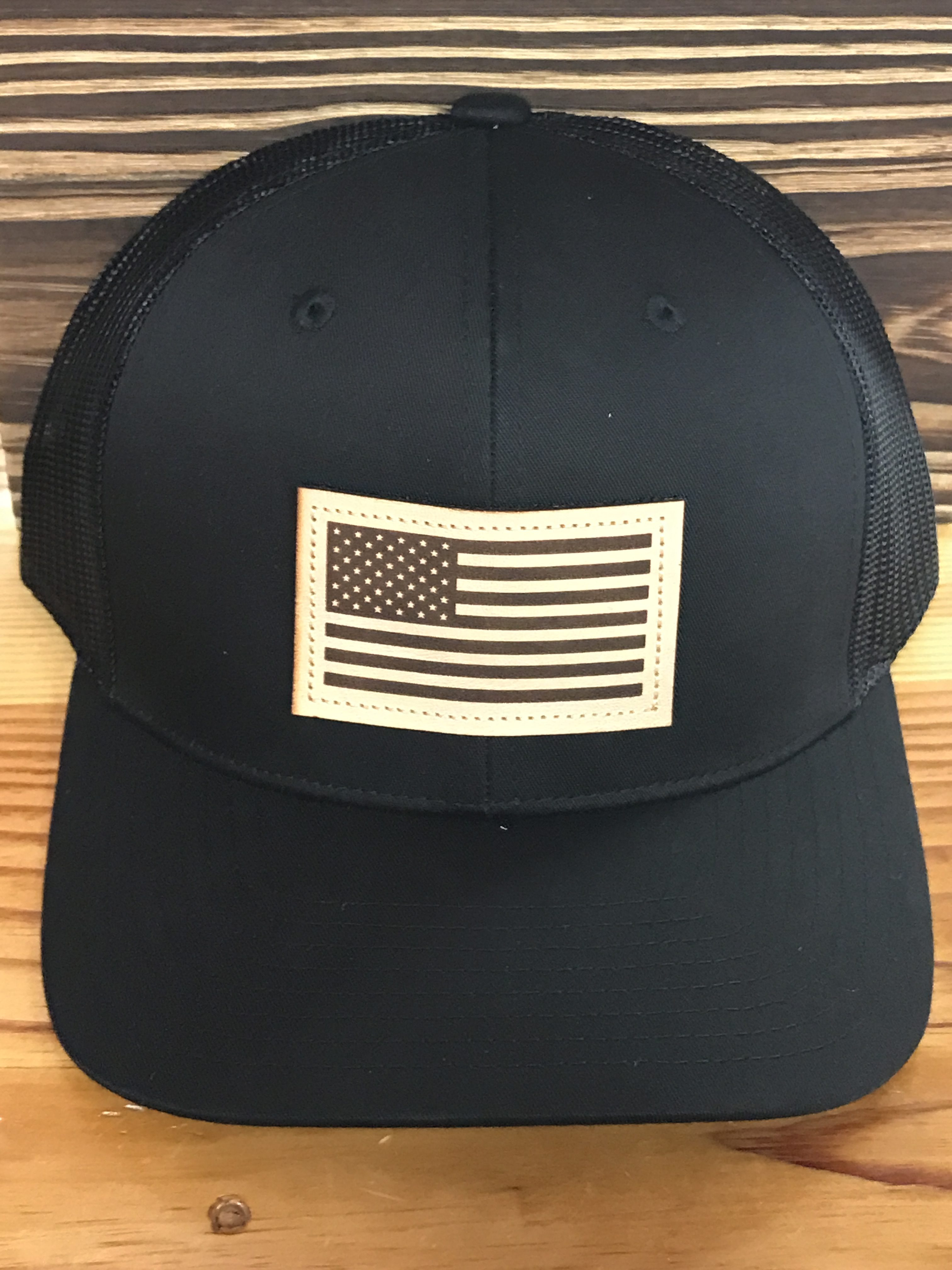 Captuer USA Flag Leather Patch Trucker Hat Black/Black