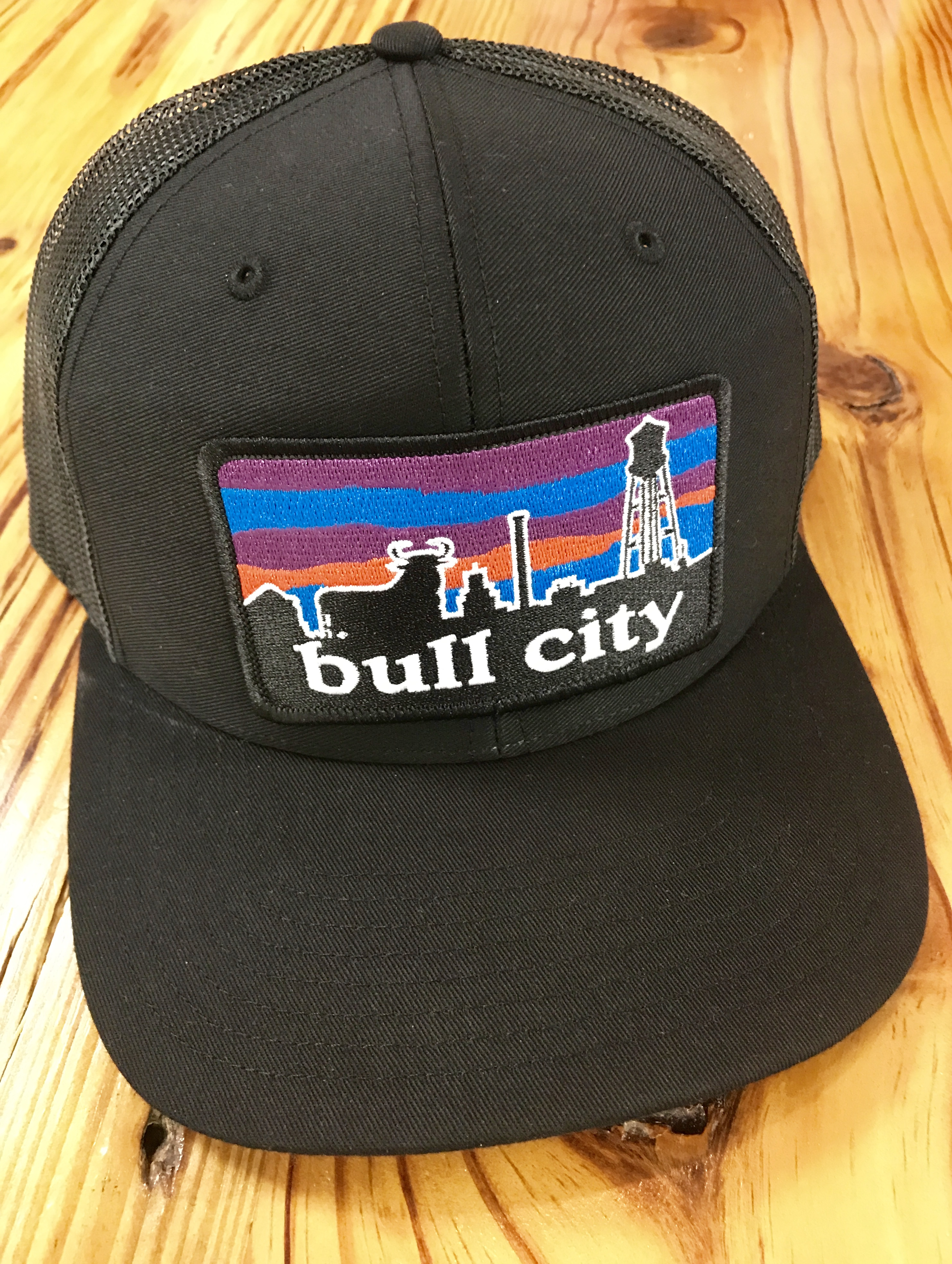 Ag Outfitters Bull City Skyline Durham Nc Patch Trucker Hat Black