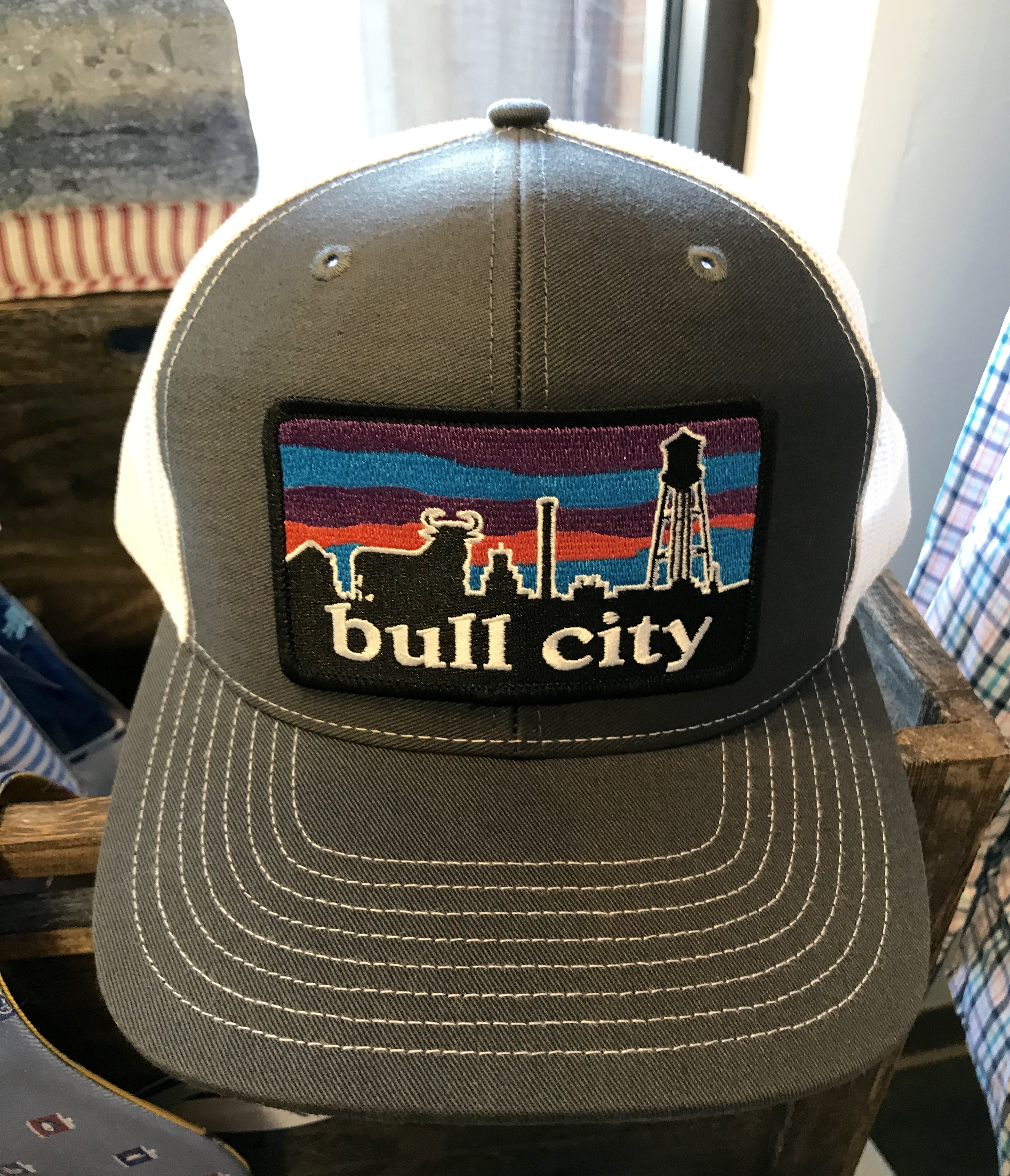 Ag Outfitters Bull City Skyline Durham Nc Patch Trucker Hat Charcoal