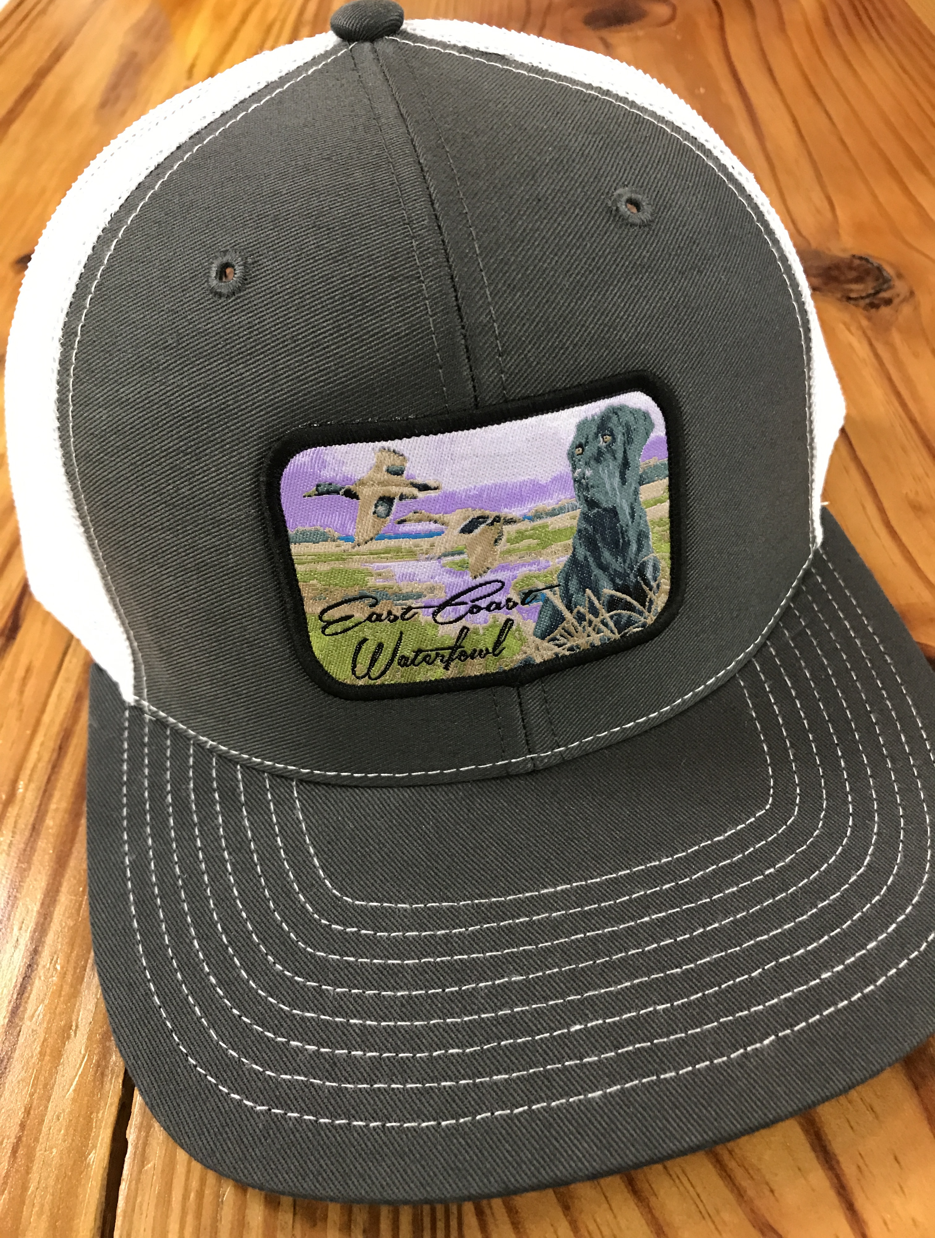 East Coast Waterfowl Lab Patch Snap Back Trucker Hat Charcoal White East  Coast Waterfowl 1ddc8a95aa2