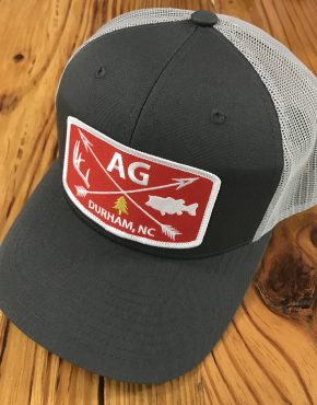 AG Outfitters Red Patch Trucker Hat Charcoal Grey 659a6276480