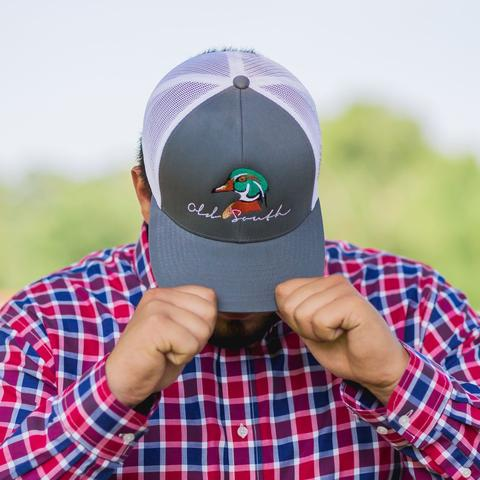 0eac5a65dfb429 Old South Wood Duck Trucker Hat Snap Back Grey/White - AG Outfitters NC