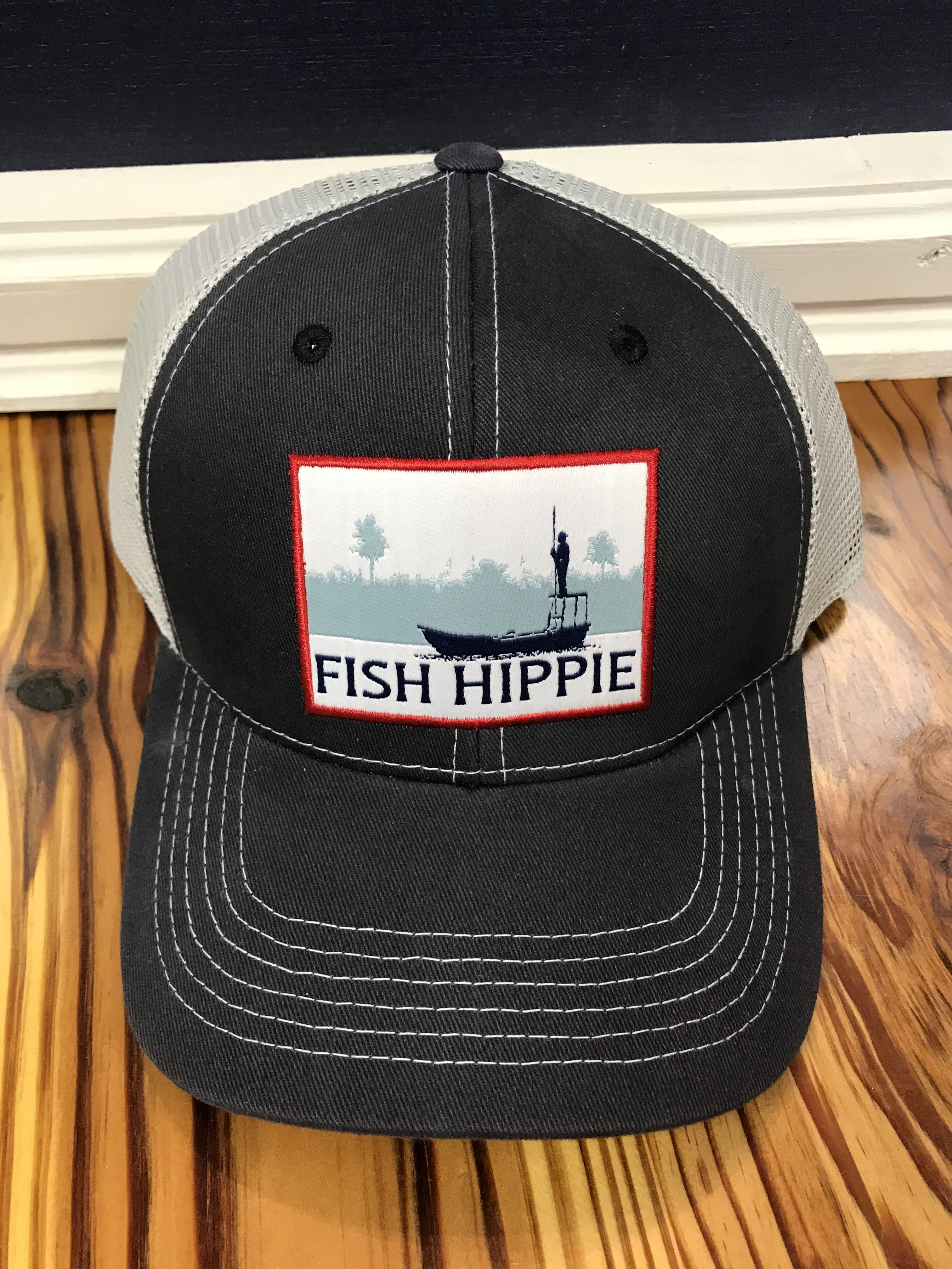 Fish Hippie Flats Dream Mesh Back Trucker Hat Navy - AG Outfitters NC 7bfadfcb9f7