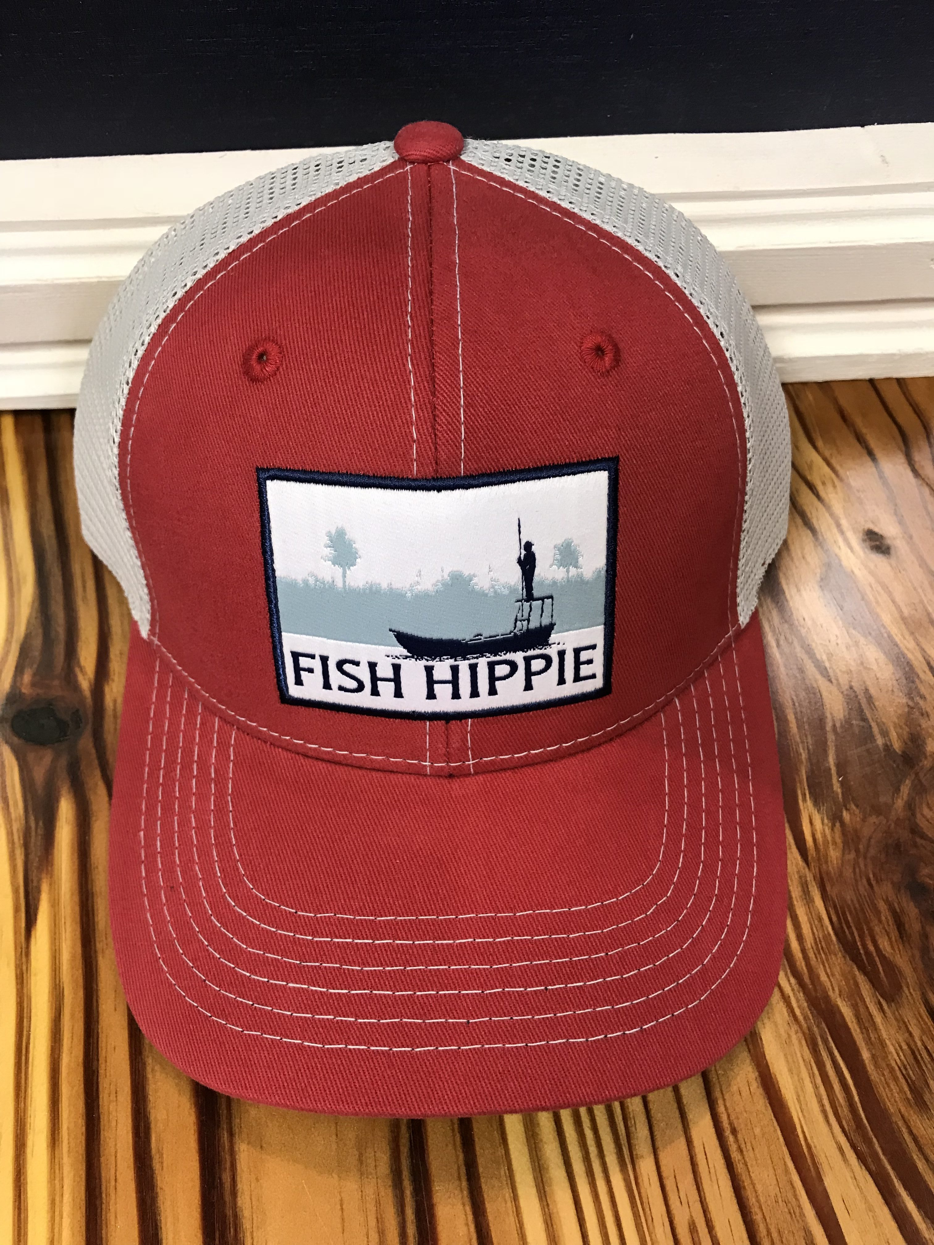 c2b4680d368 Fish Hippie Flats Dream Mesh Back Trucker Hat Red - AG Outfitters NC