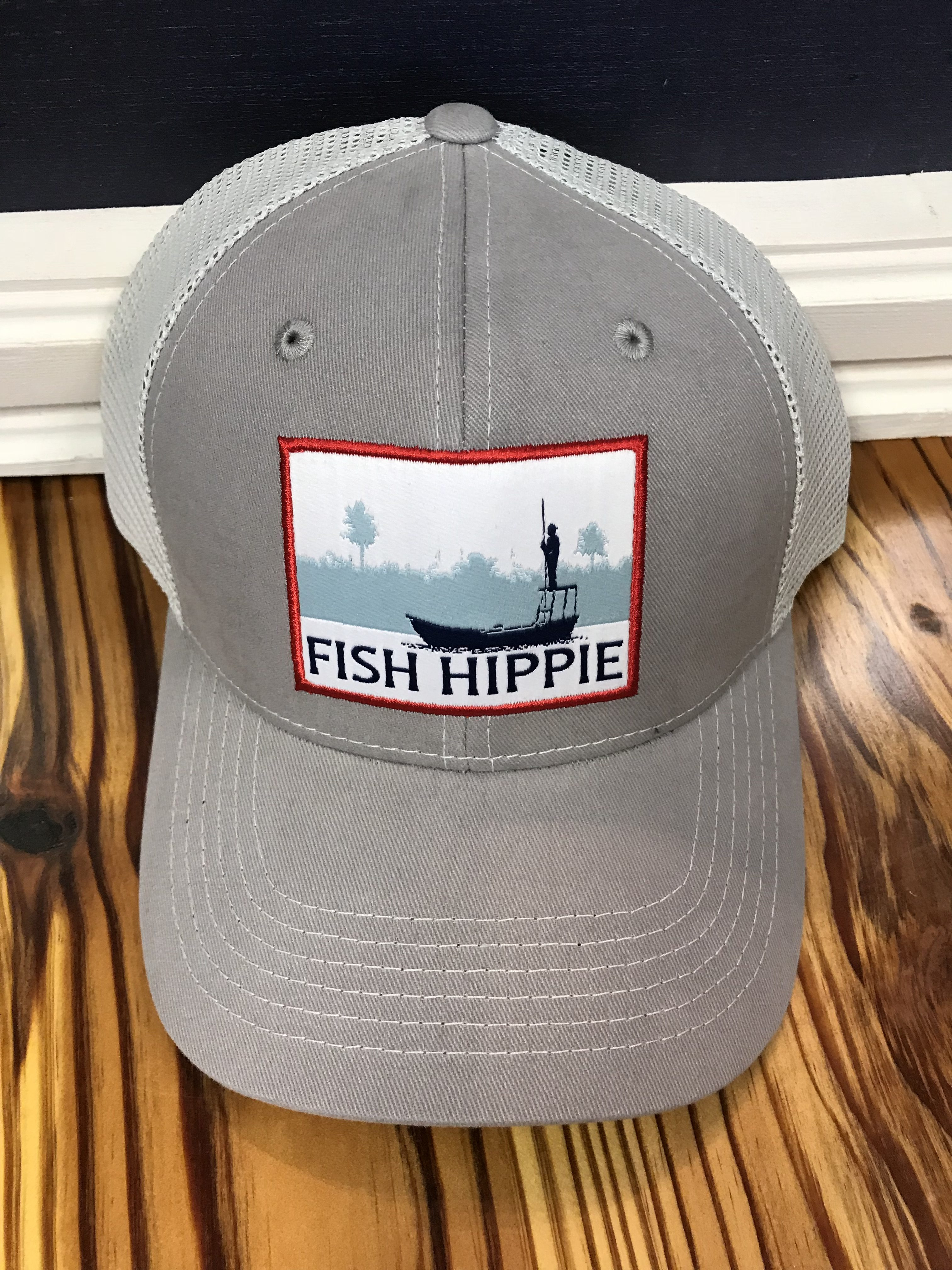 Fish Hippie Flats Dream Mesh Back Trucker Hat Stone - AG Outfitters NC 09fe2a432d7