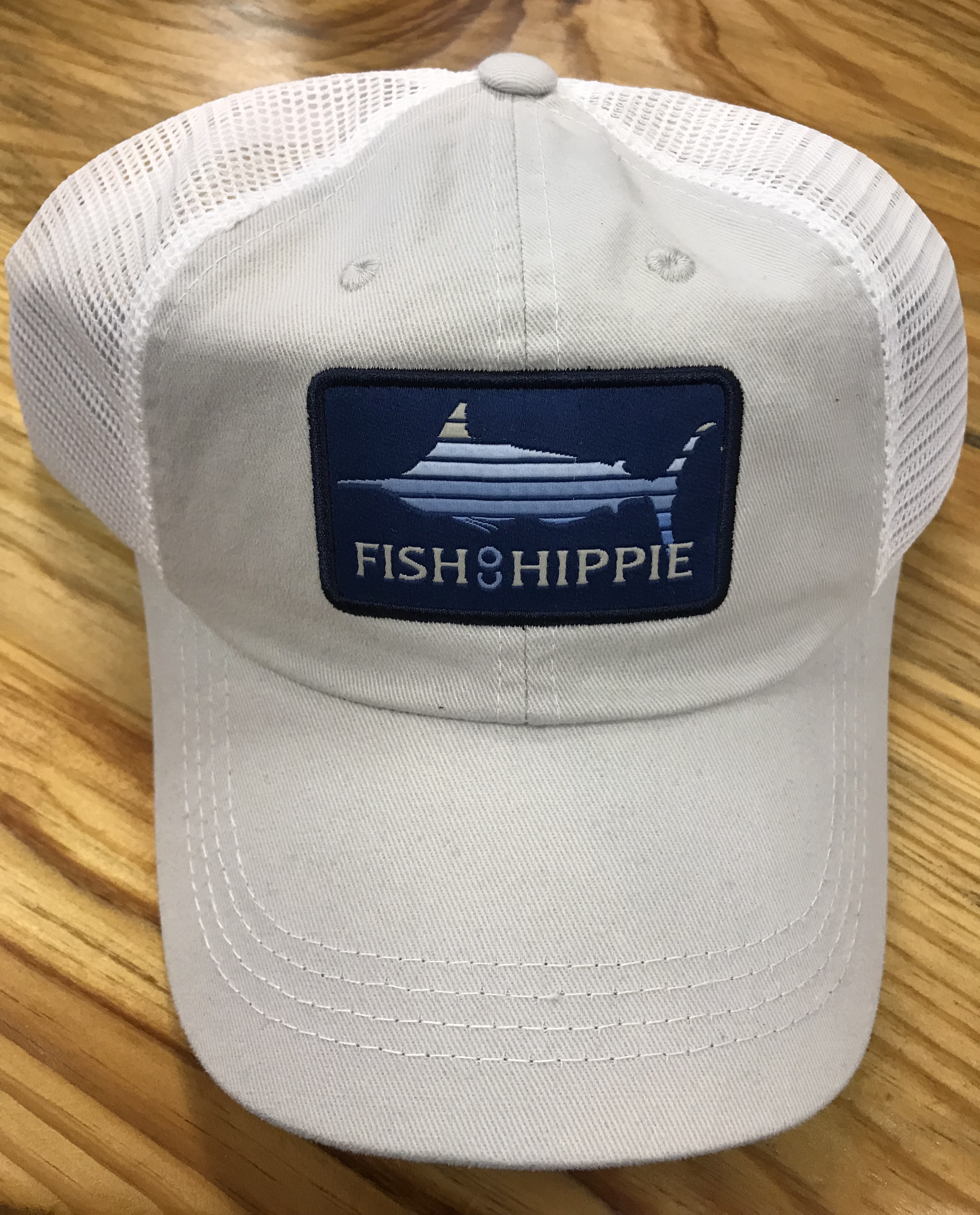 Fish hippie lines out mesh back trucker hat bone ag for Fish hippie hats