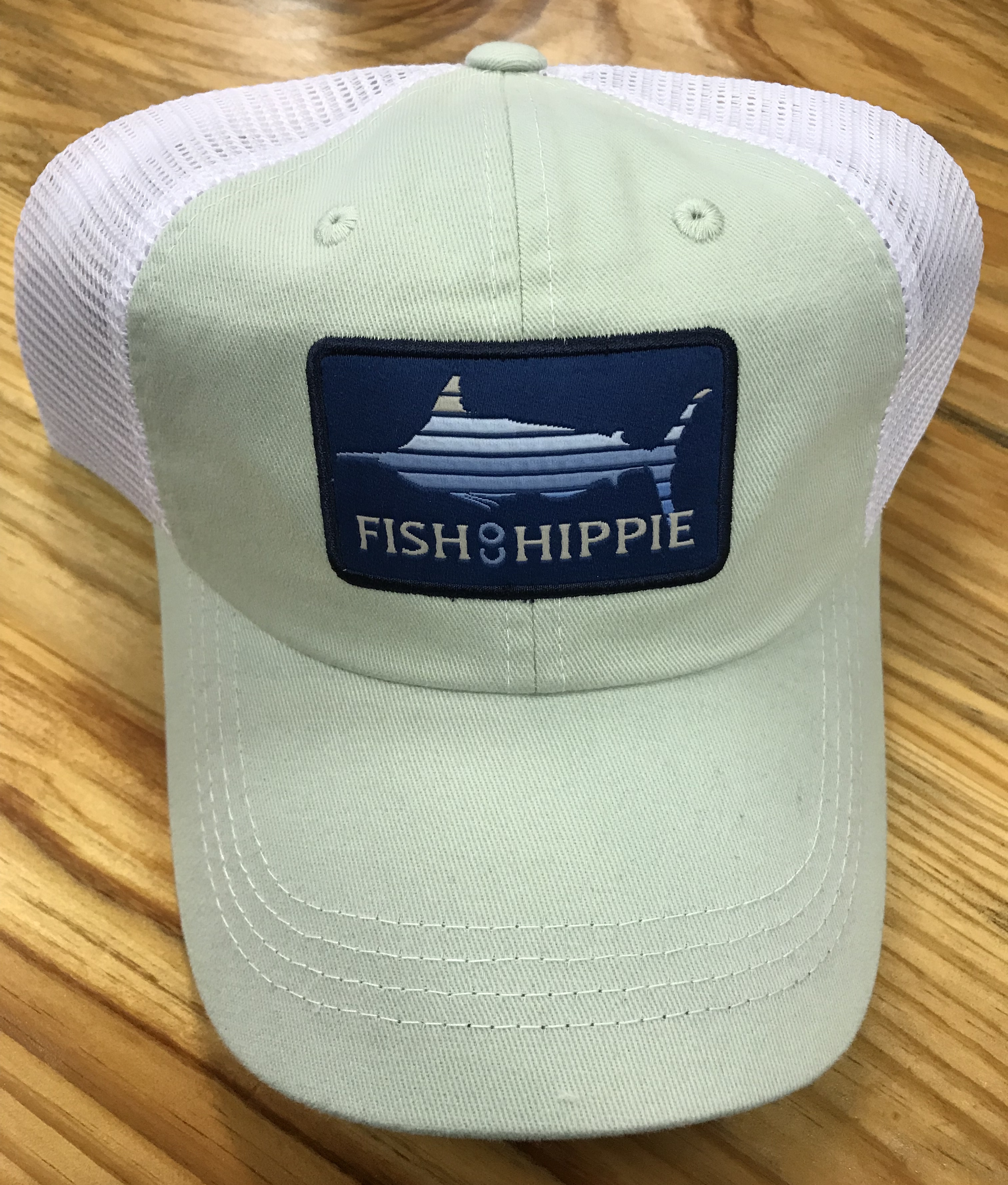 Fish hippie lines out mesh back trucker hat seafoam ag for Fish hippie hats