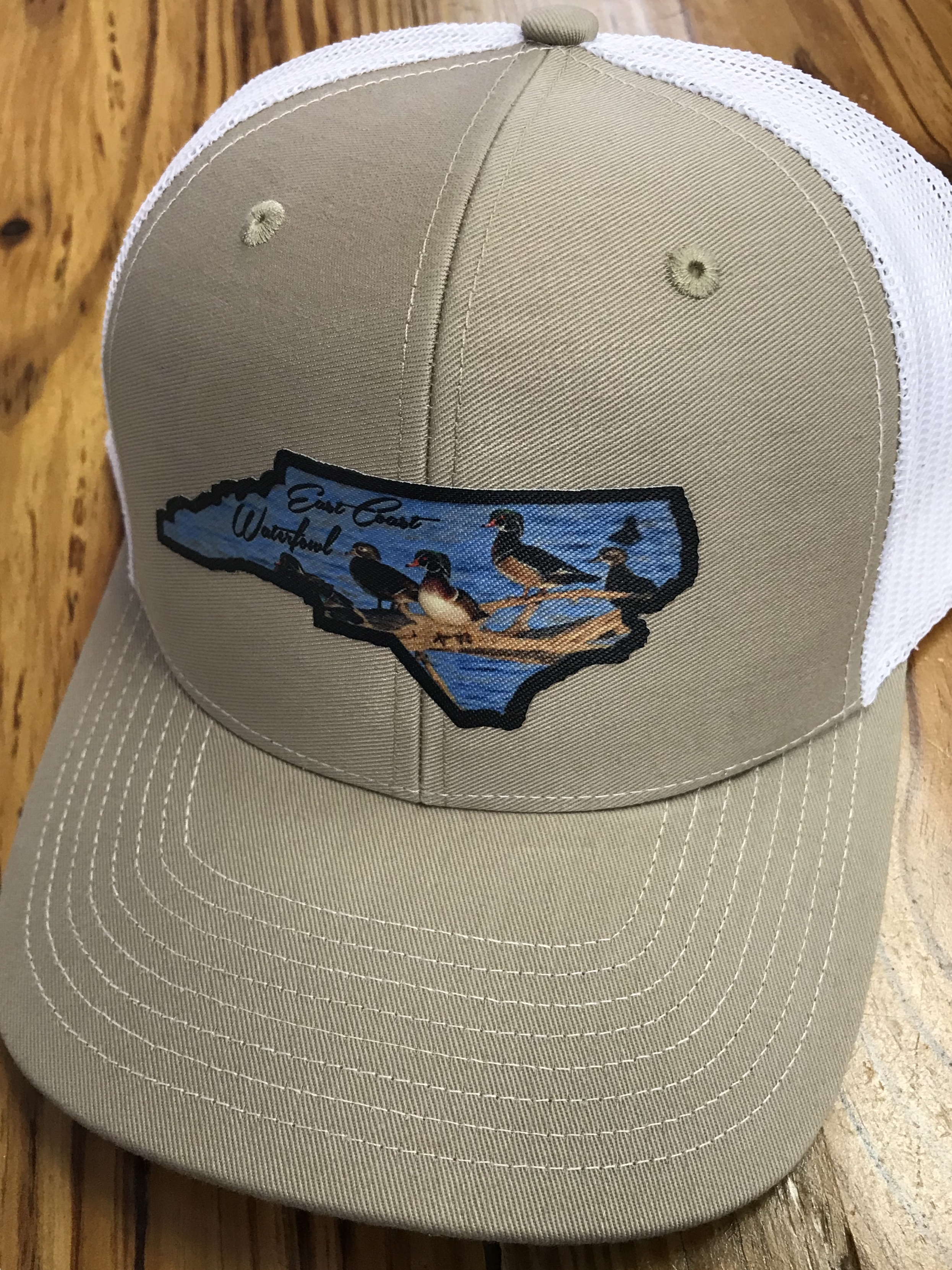 ff831d1bf95 East Coast Waterfowl Wood Duck State Patch Trucker Hat Khaki White East  Coast Waterfowl