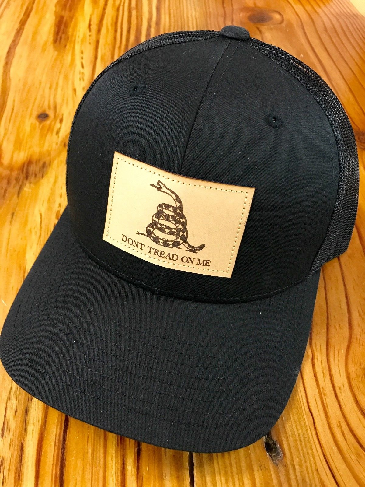 Don T Tread On Me Leather Patch Snapback Trucker Hat Black