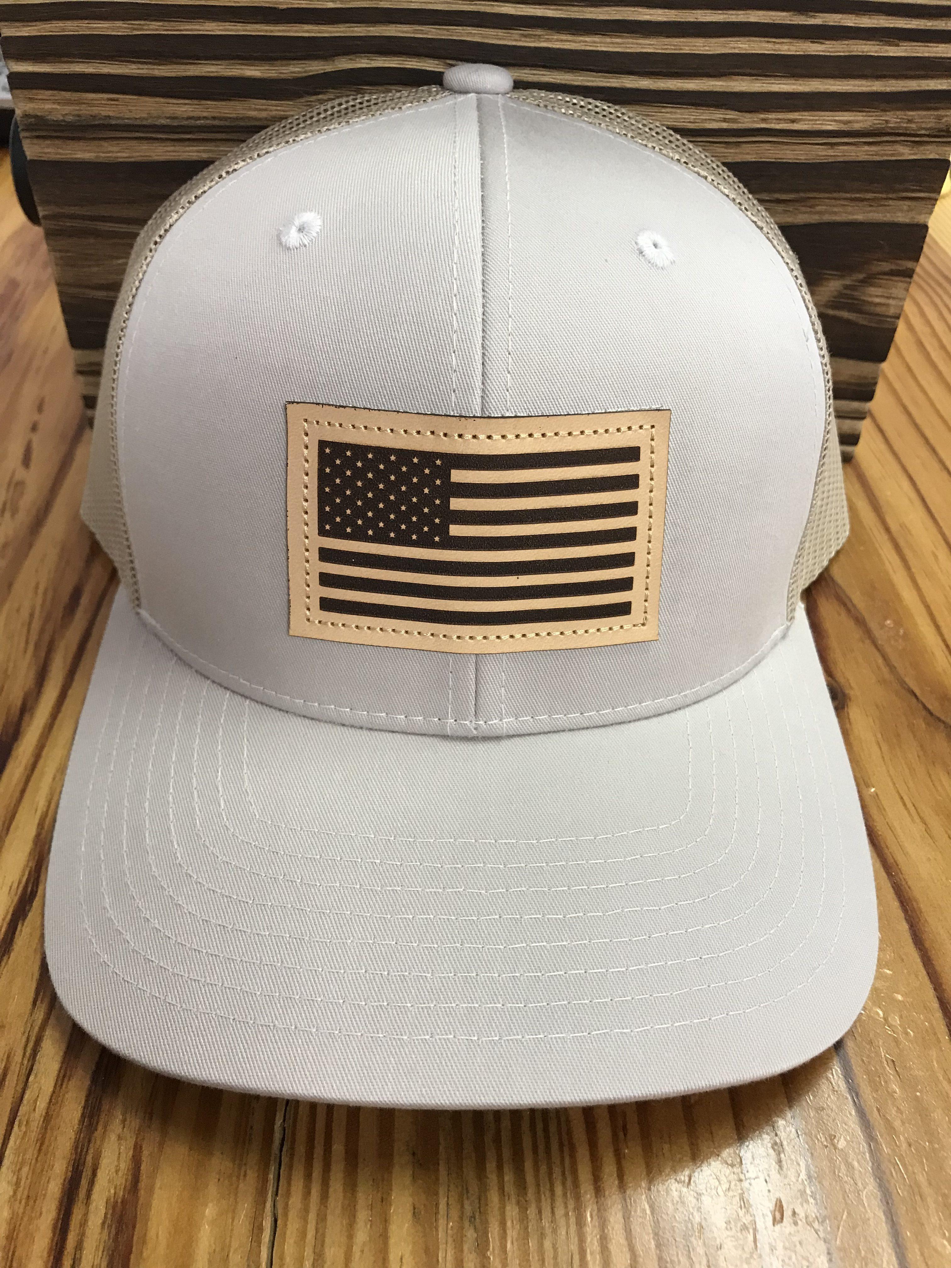 43b8d6dd Captuer USA Flag Leather Patch Trucker Hat Tan