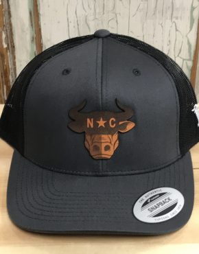 952fa8ec106 Branded Bills North Carolina Bull City Leather Patch Snapback Trucker Hat  Charcoal Black