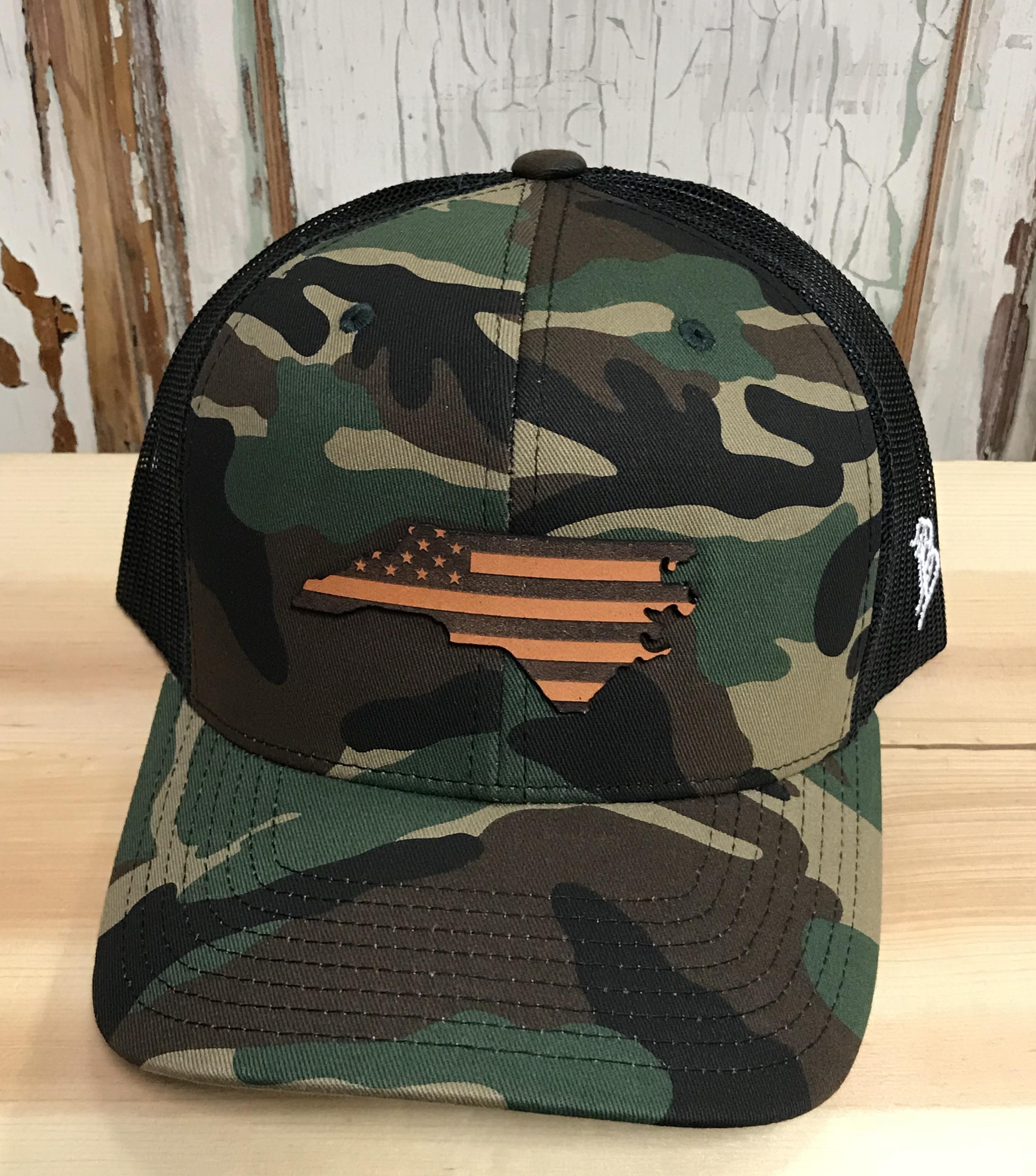 a5cc8715c Branded Bills North Carolina Patriot Leather Patch Snapback Trucker Hat  Camo/Black