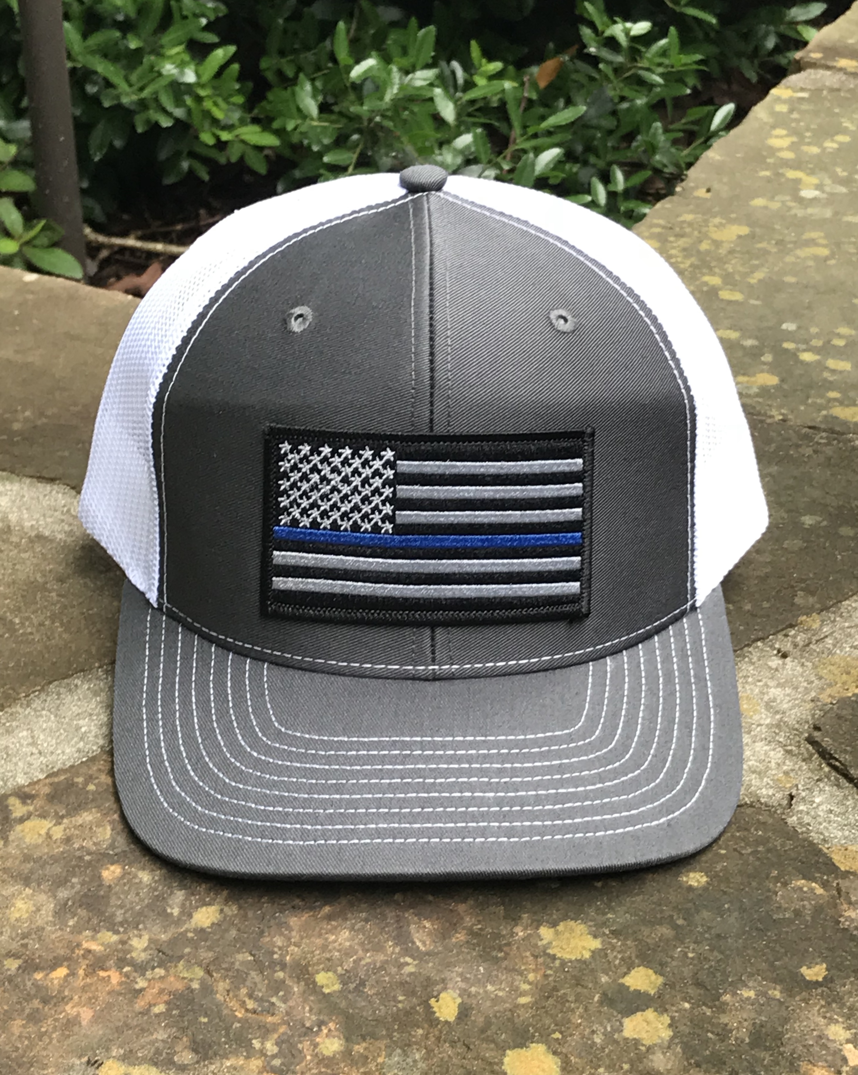 12a34ccf AG Outfitters Thin Blue Line Flag Patch Trucker Hat Charcoal/White