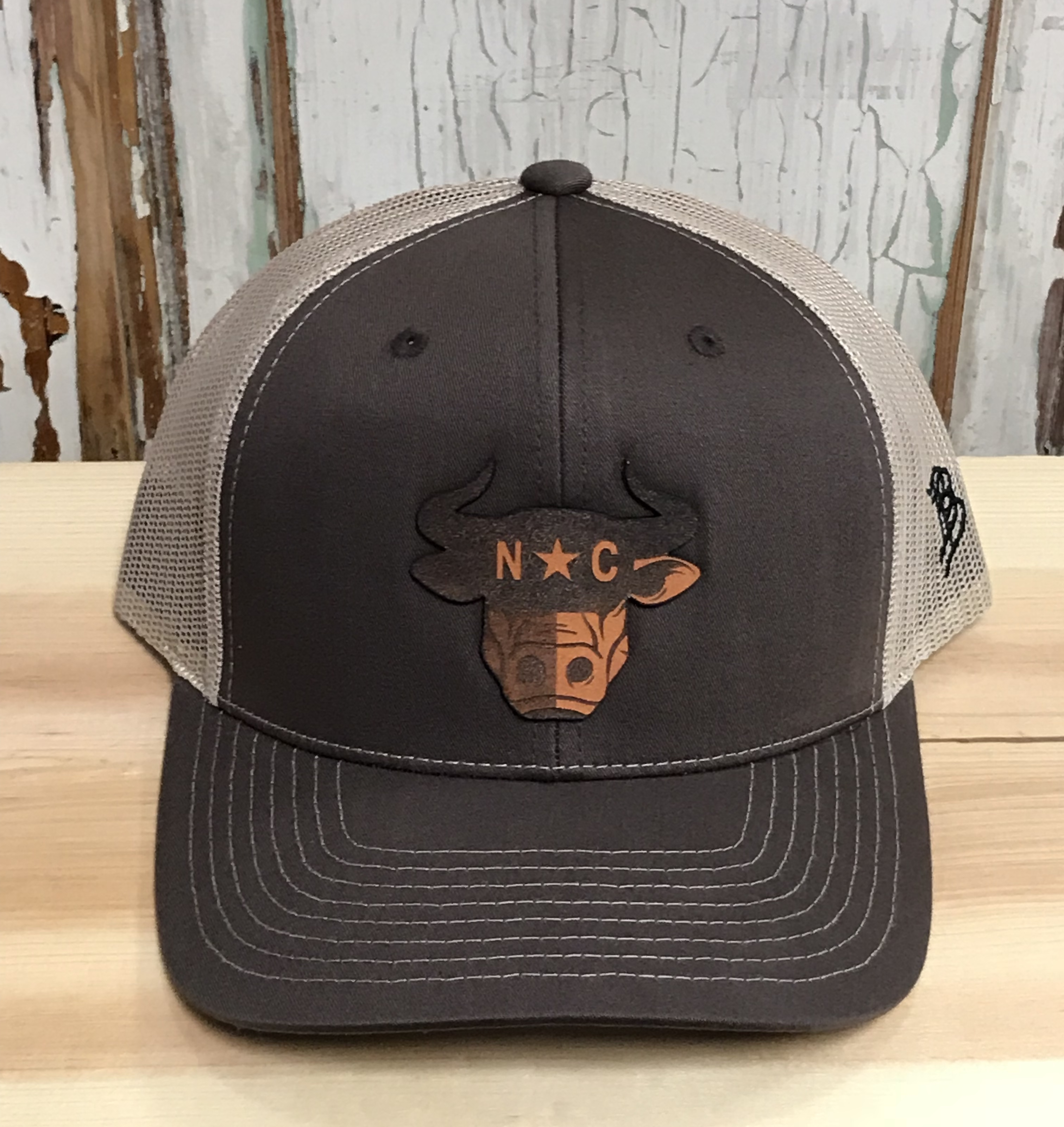69f8d3ee3c90e Branded Bills North Carolina Bull City Leather Patch Snapback Trucker Hat  Brown Khaki Accessories