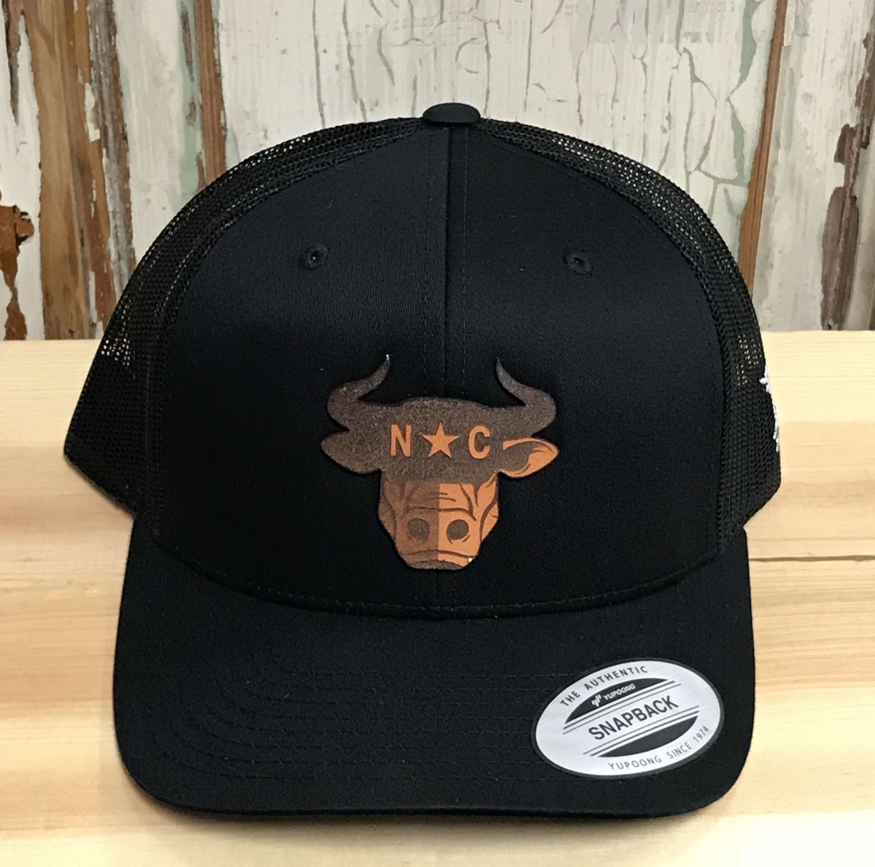 Branded Bills North Carolina Bull City Leather Patch Snapback Trucker Hat Black/Black Accessories, Headwear,