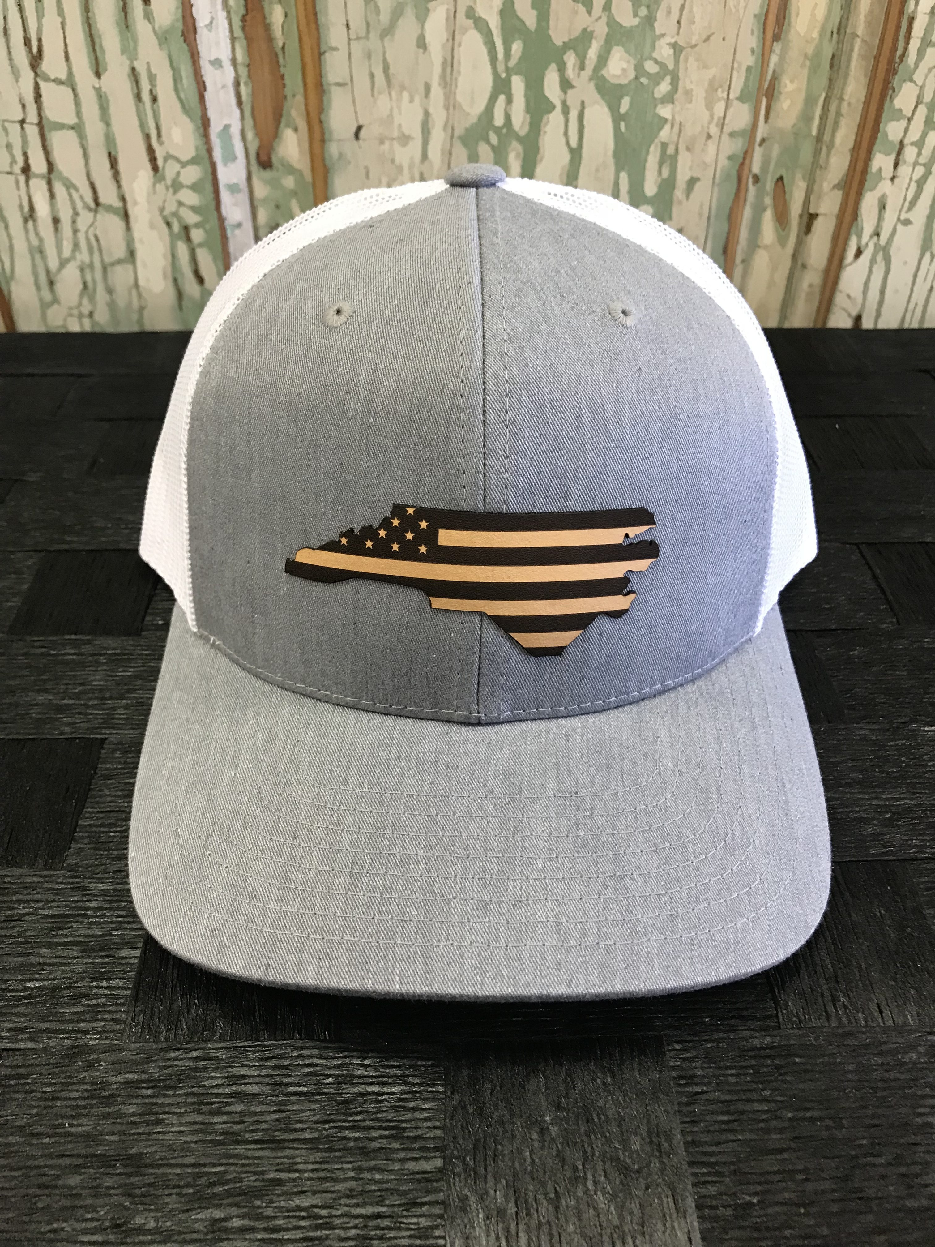 6cfcec80a North Carolina USA Flag Leather Patch Snapback Trucker Hat Heather  Grey/White
