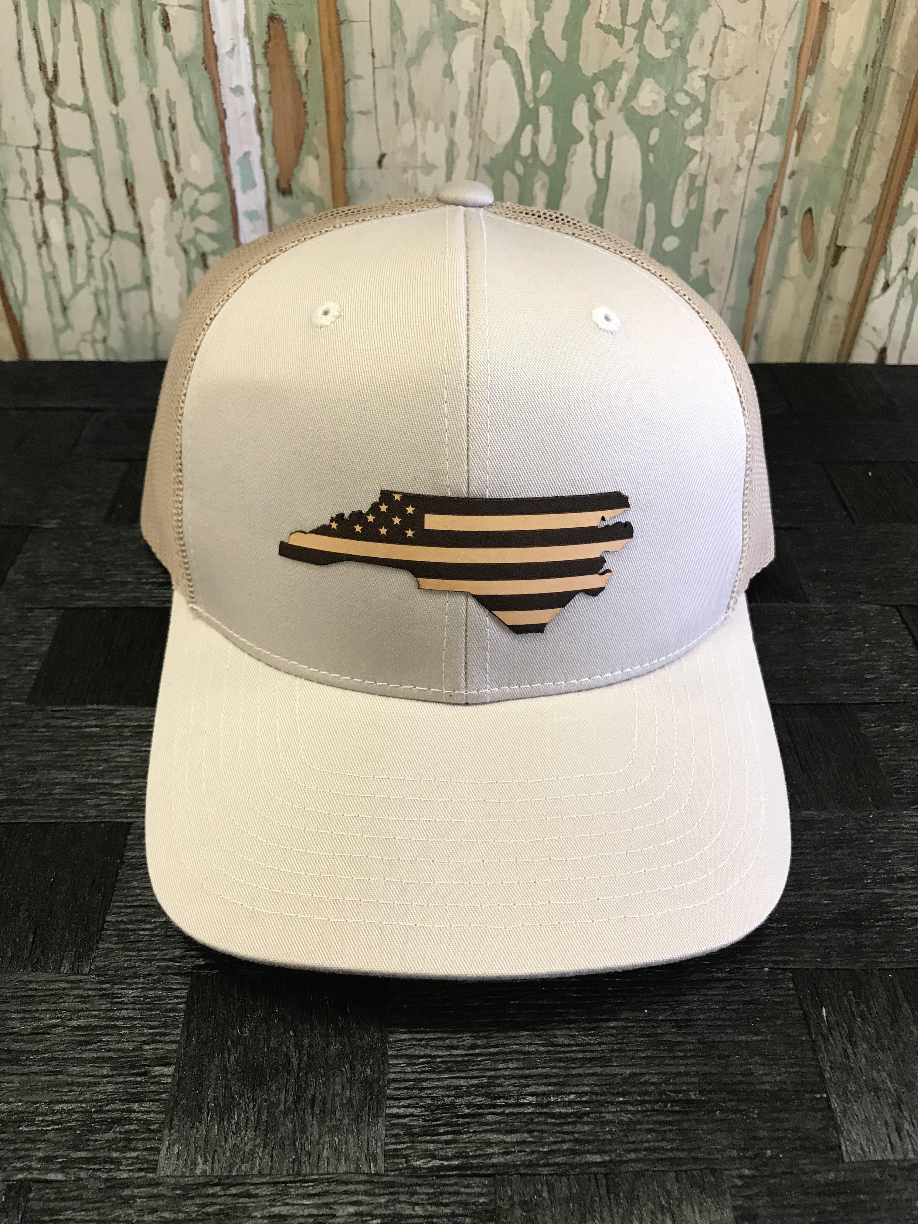 North Carolina USA Flag Leather Patch Snapback Trucker Hat Tan/Khaki