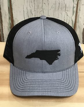 e18ae5504b8 Branded Bills North Carolina Midnight Patriot Leather Patch Snapback Trucker  Hat Heather Grey Black