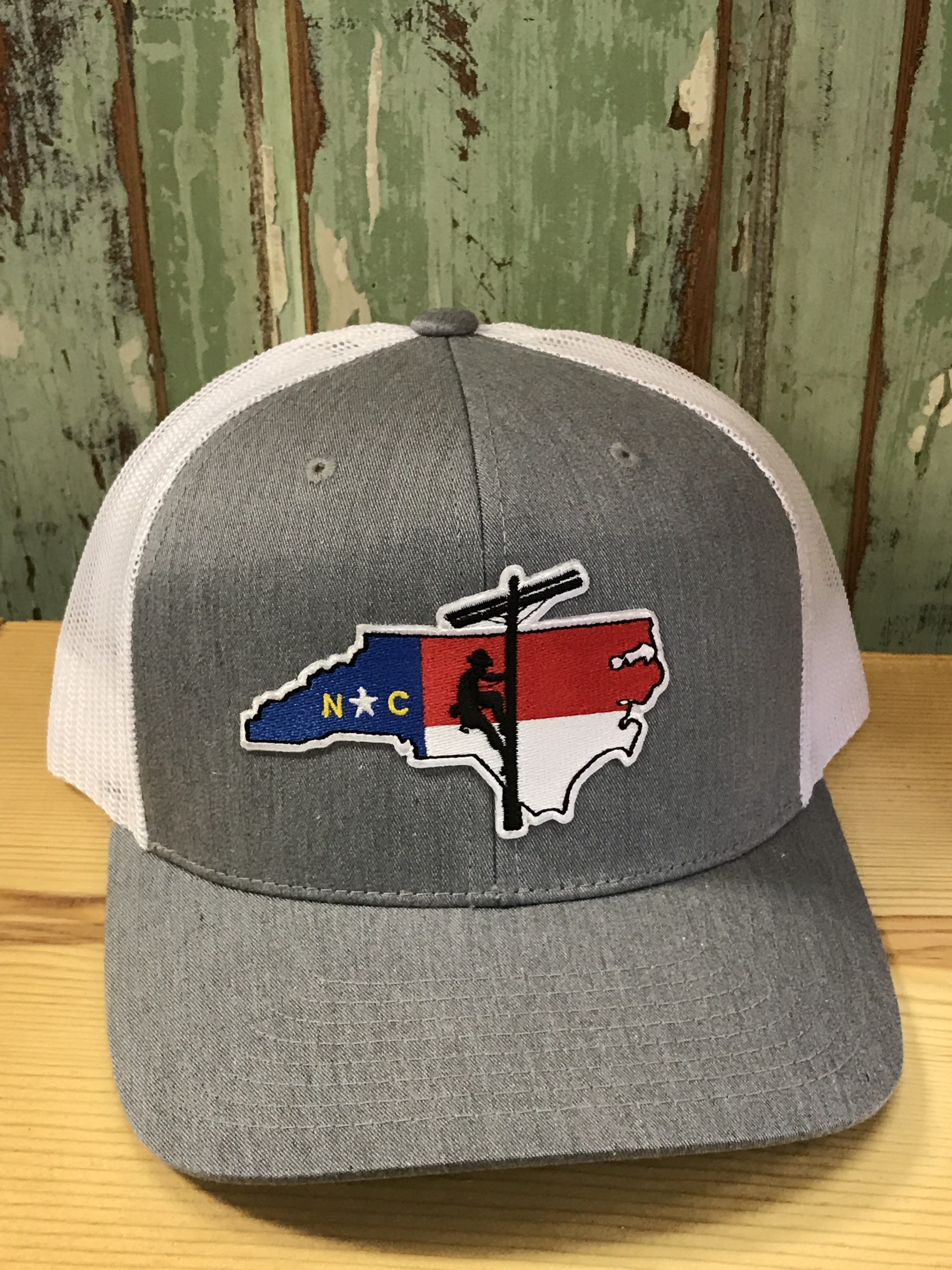 North Carolina Lineman Patch Snapback Trucker Hat Heather Grey White  Accessories 9d10851105d