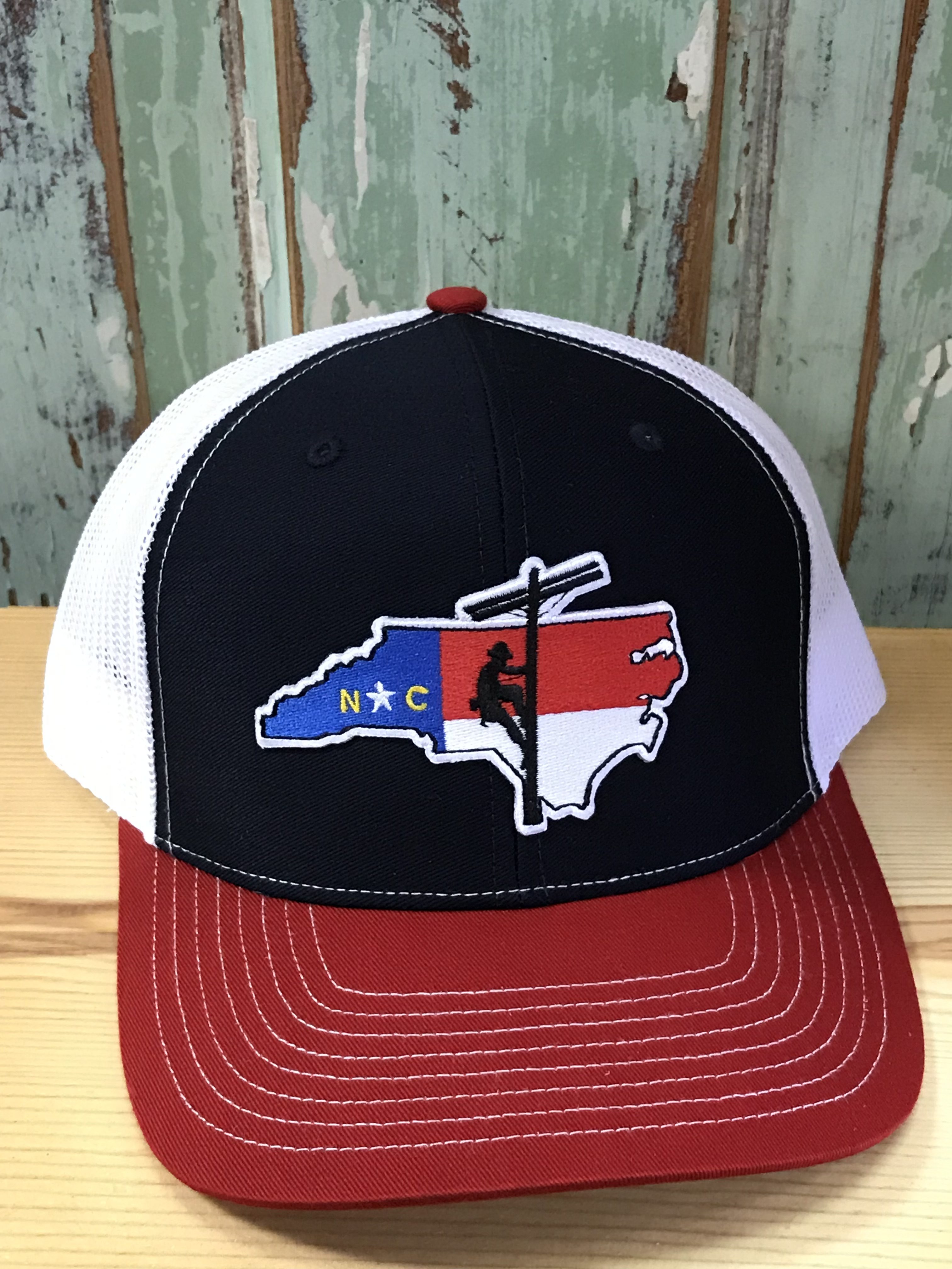 North Carolina Lineman Patch Snapback Trucker Hat Navy Red White  Accessories 8b1ebe323d9
