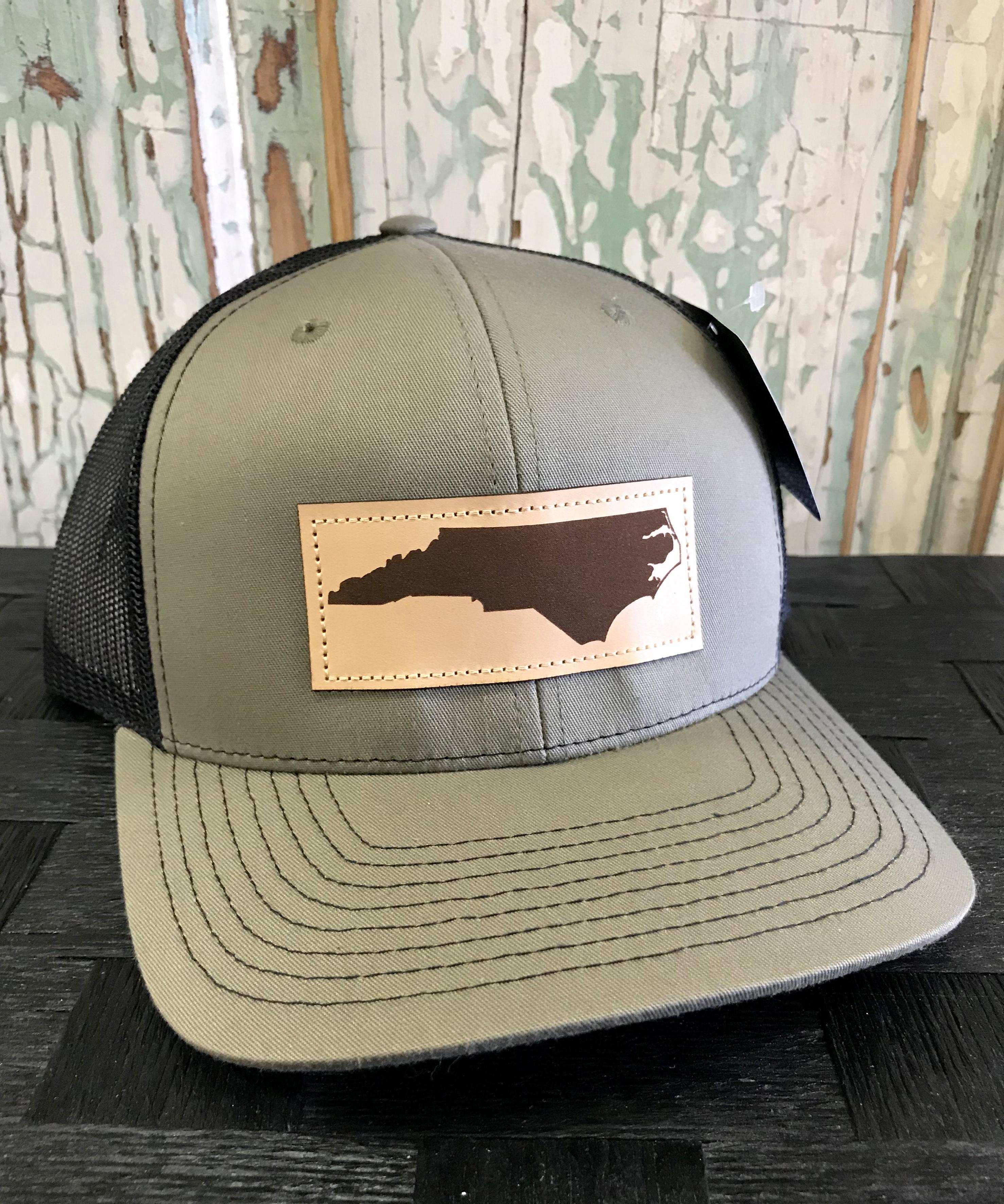e14e43ff4cf5a Richardson Mesh Back North Carolina Leather Patch Trucker Hat Loden Black  Accessories