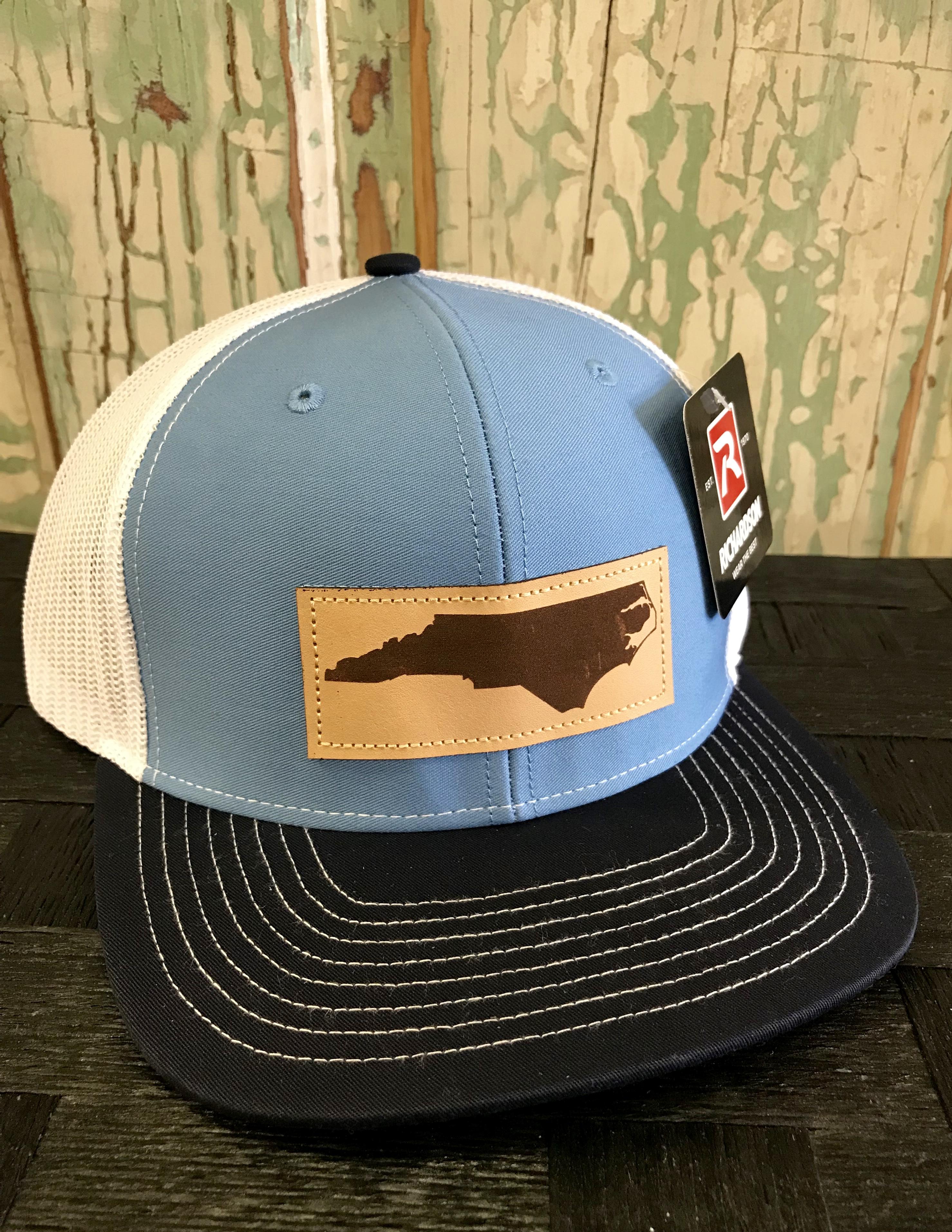 5b542251fc249 Richardson Mesh Back North Carolina Leather Patch Trucker Hat Columbia Blue  White Navy Accessories
