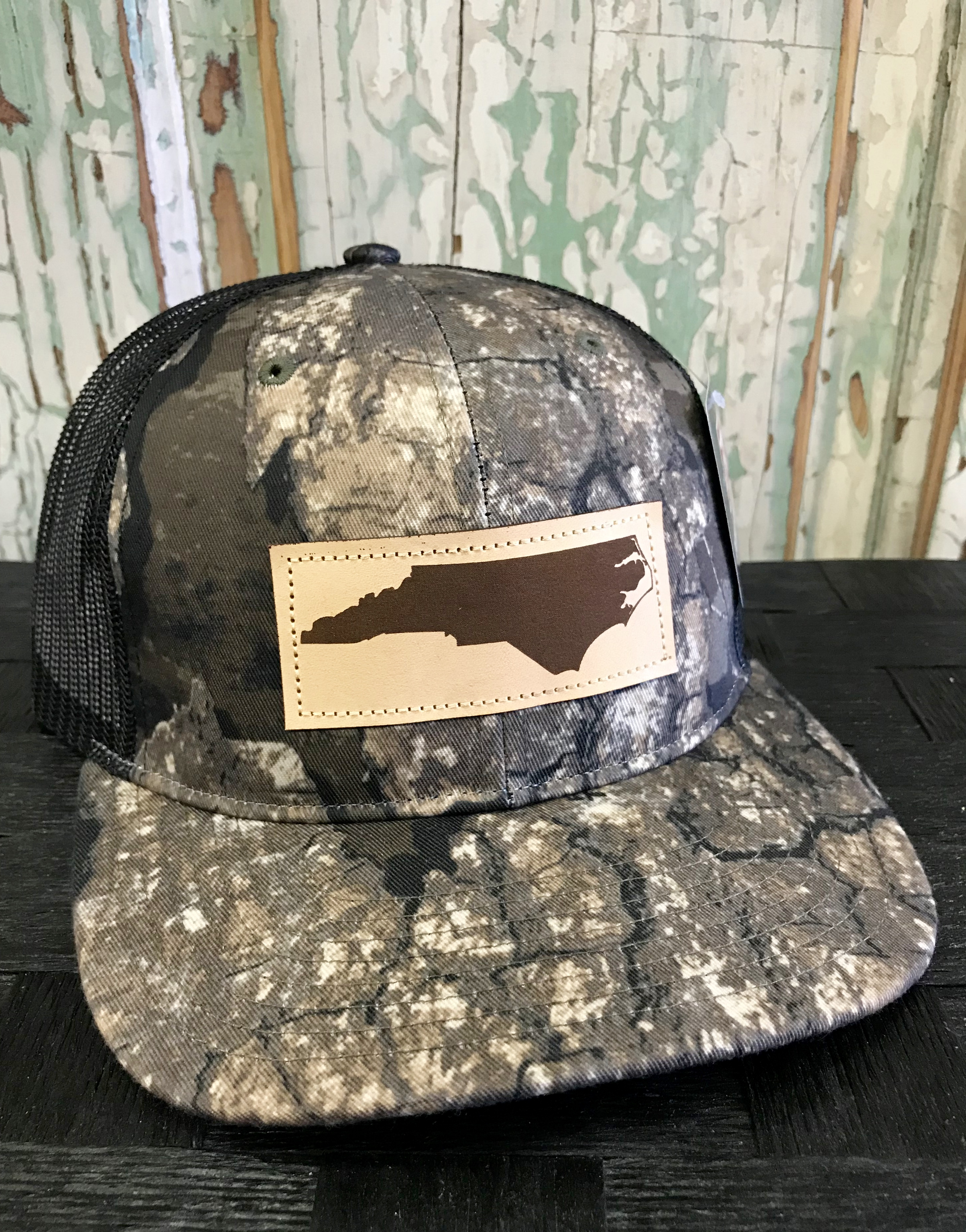 3d18399efbc702 Richardson Mesh Back North Carolina Leather Patch Trucker Hat Realtree  Timber/Black Accessories, Headwear, North Carolina