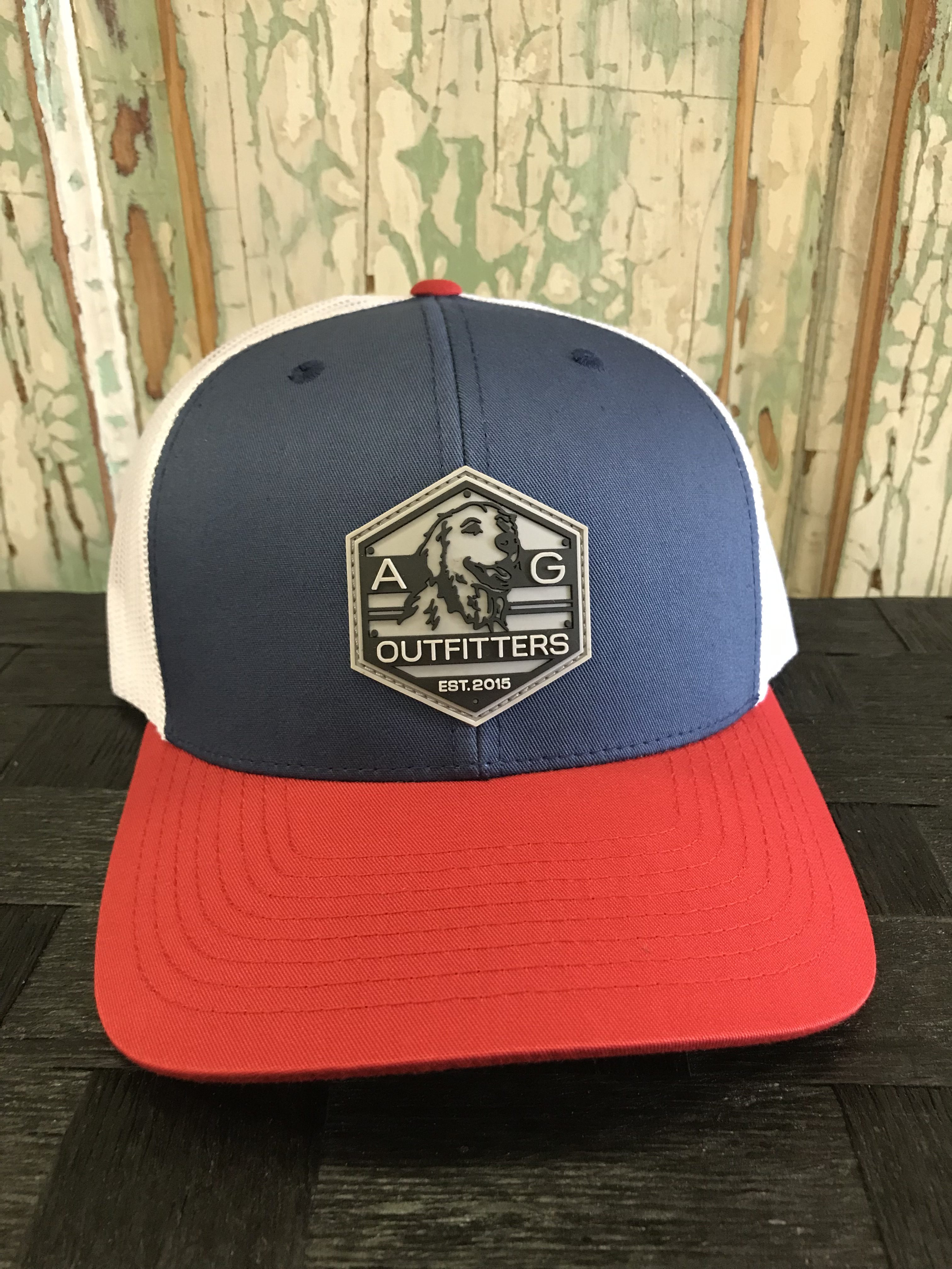 ecdb8aeb AG Outfitters Rubber Logo Patch Trucker Hat Lt. Navy/White/Red
