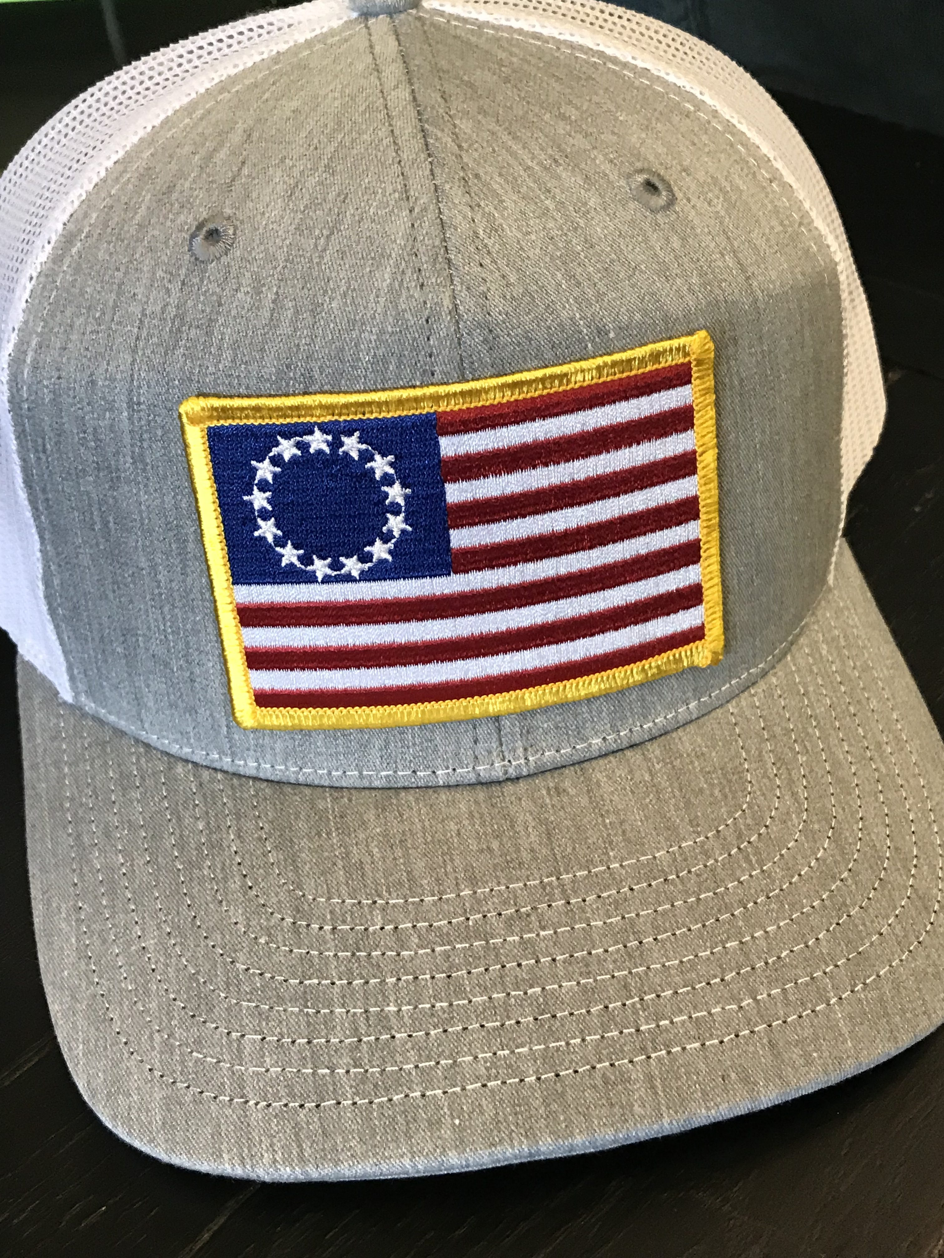 963d88b3e The Betsy Flag Patch Snapback Trucker Hat Heather Grey/White